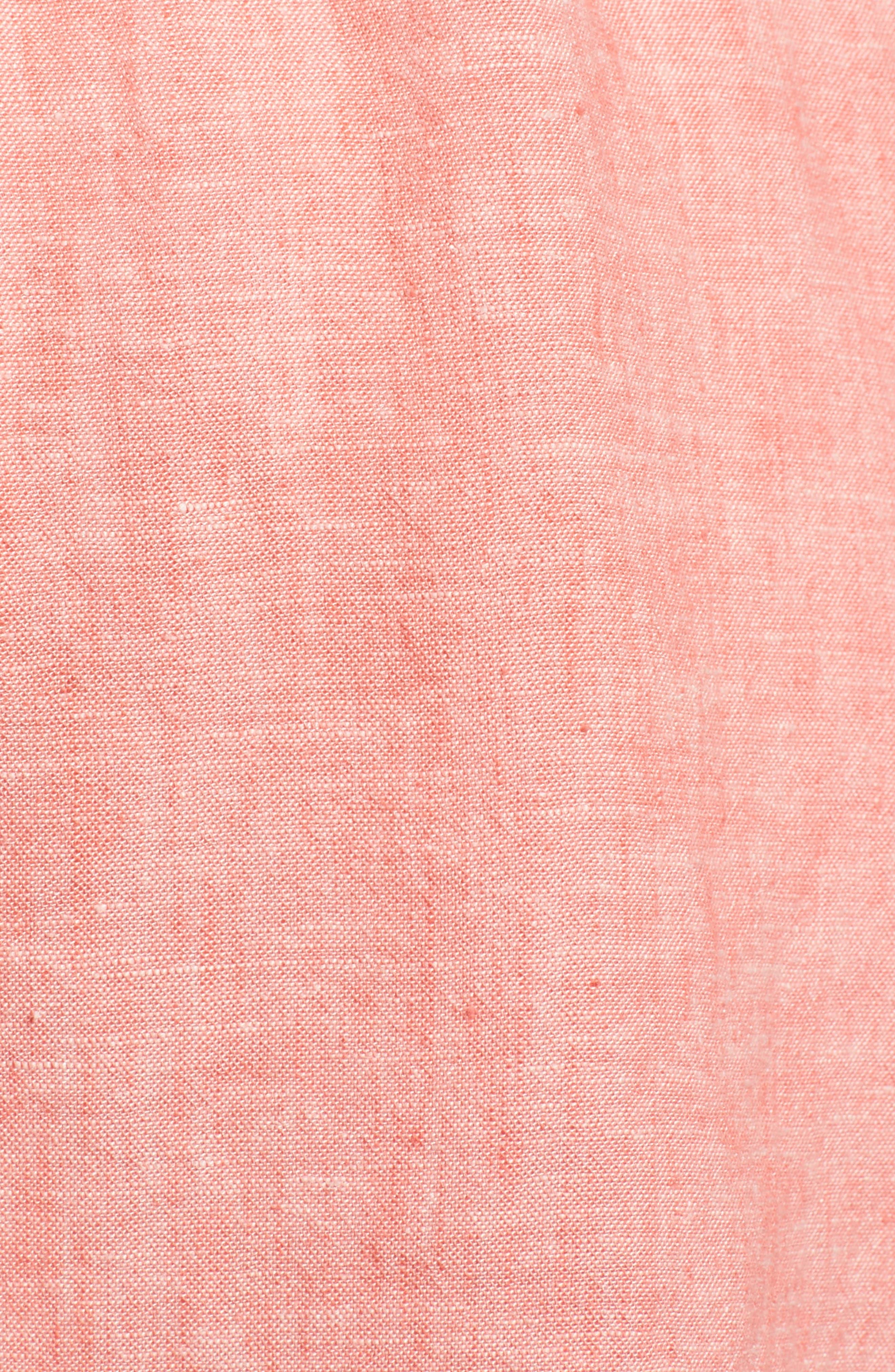 Twist Front Linen Blend Shirt,                             Alternate thumbnail 6, color,                             Coral Rose Crossdye
