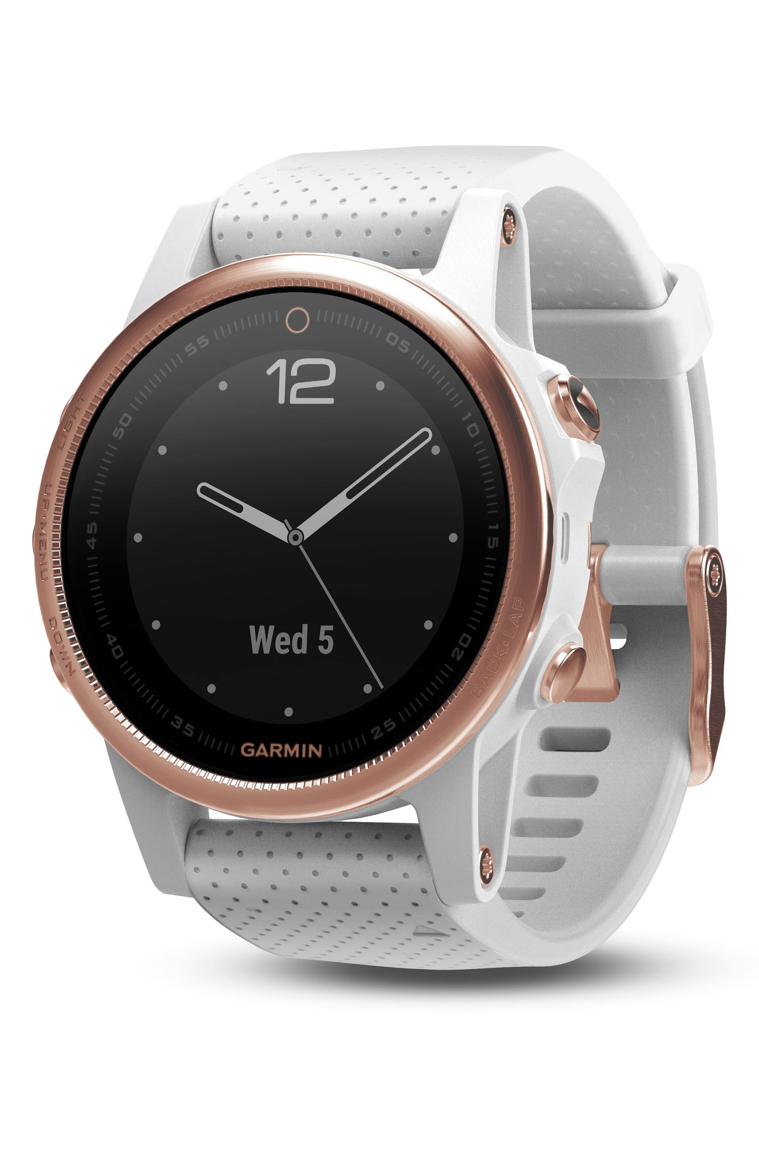 fenix<sup>®</sup> 5s Sapphire Multisport GPS Smart Tracker Silicone Strap Watch, 42mm,                             Main thumbnail 1, color,                             White/ Rose Gold Sapphire