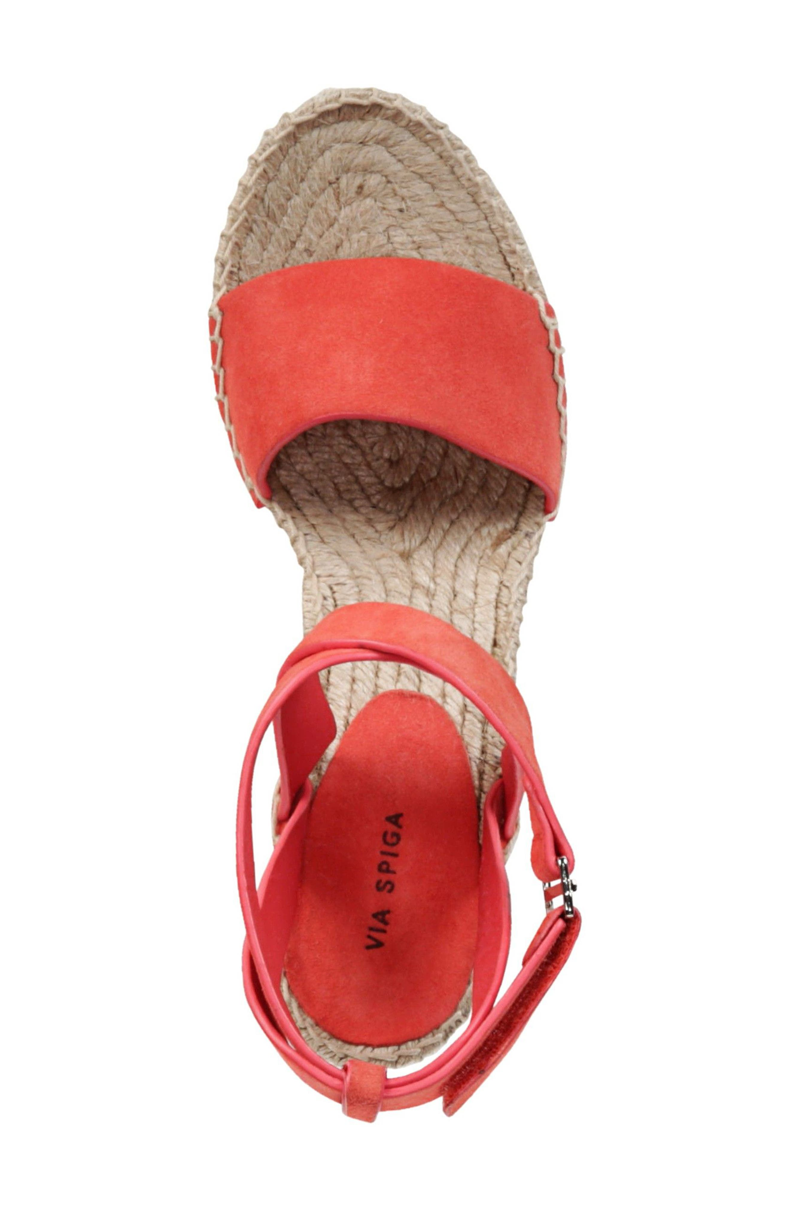Nevada Espadrille Wedge Sandal,                             Alternate thumbnail 5, color,                             Poppy Red Suede