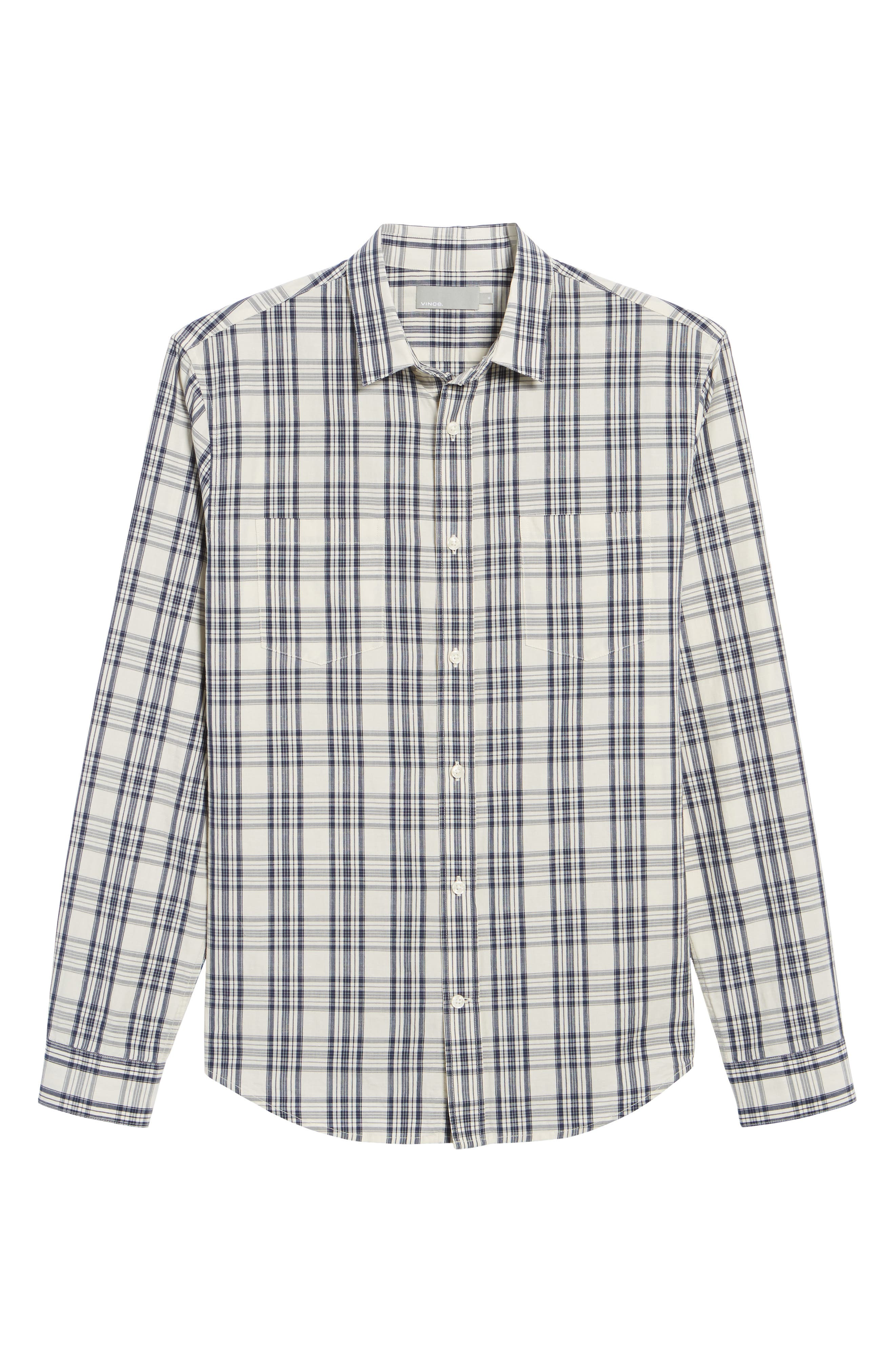 Slim Fit Plaid Sport Shirt,                             Alternate thumbnail 6, color,                             Charcoal