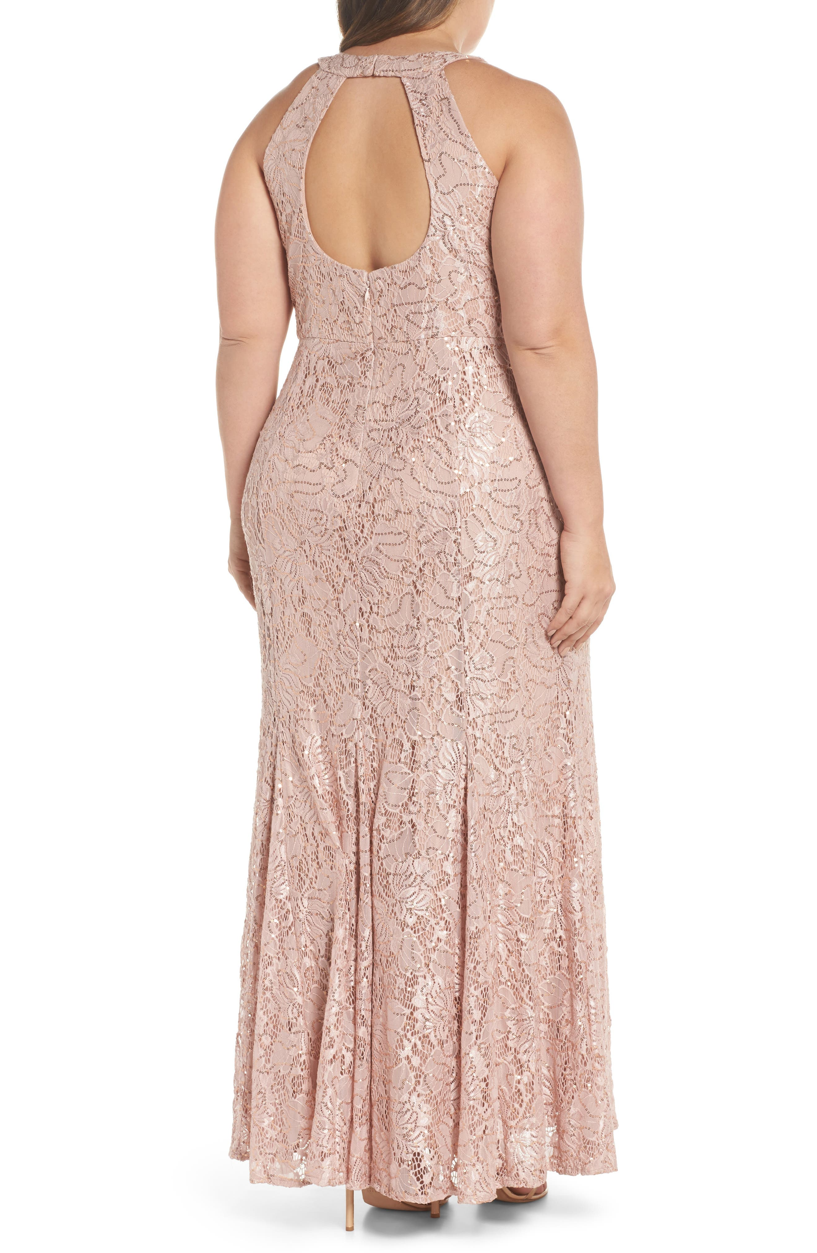 Sequin Lace Gown,                             Alternate thumbnail 2, color,                             Rose Gold