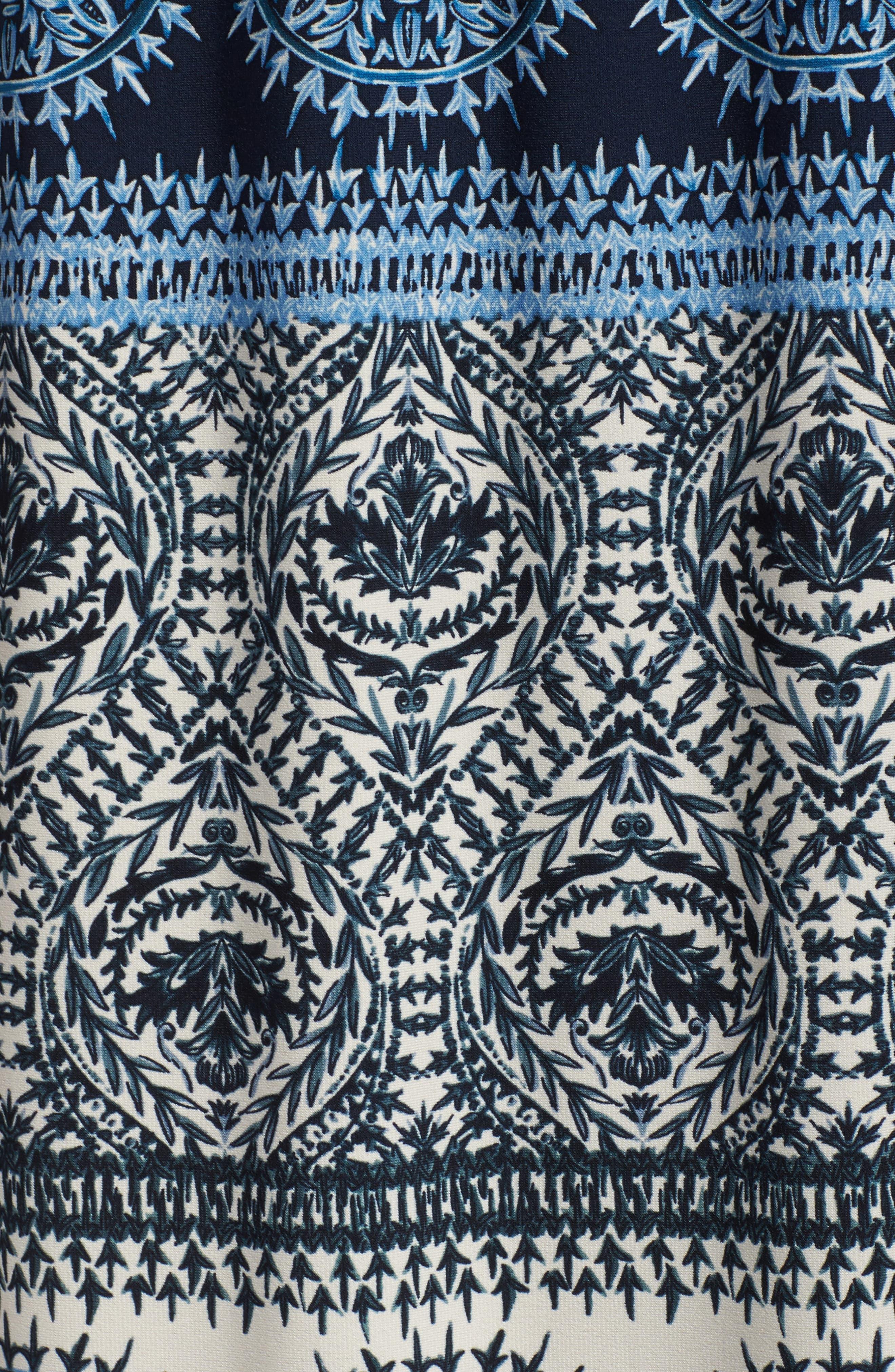 Print Cold Shoulder Blouson Maxi Dress,                             Alternate thumbnail 5, color,                             Ivory/ Blue