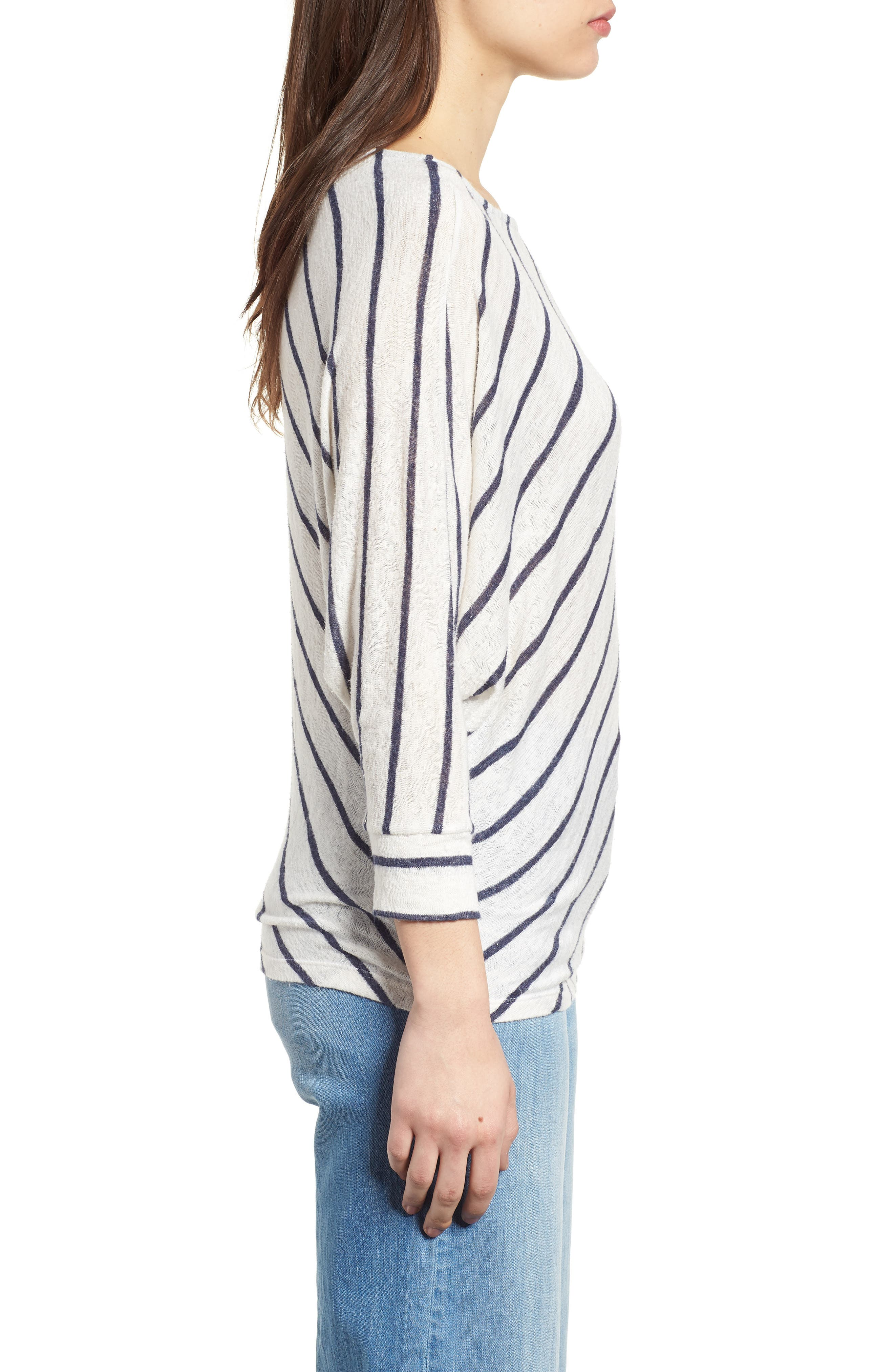 Stripe Dolman Sleeve Top,                             Alternate thumbnail 4, color,                             Cream