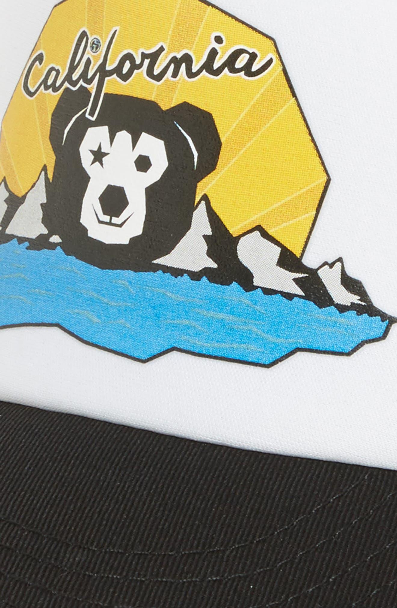 Cali Bear Trucker Hat,                             Alternate thumbnail 3, color,                             Black/ White