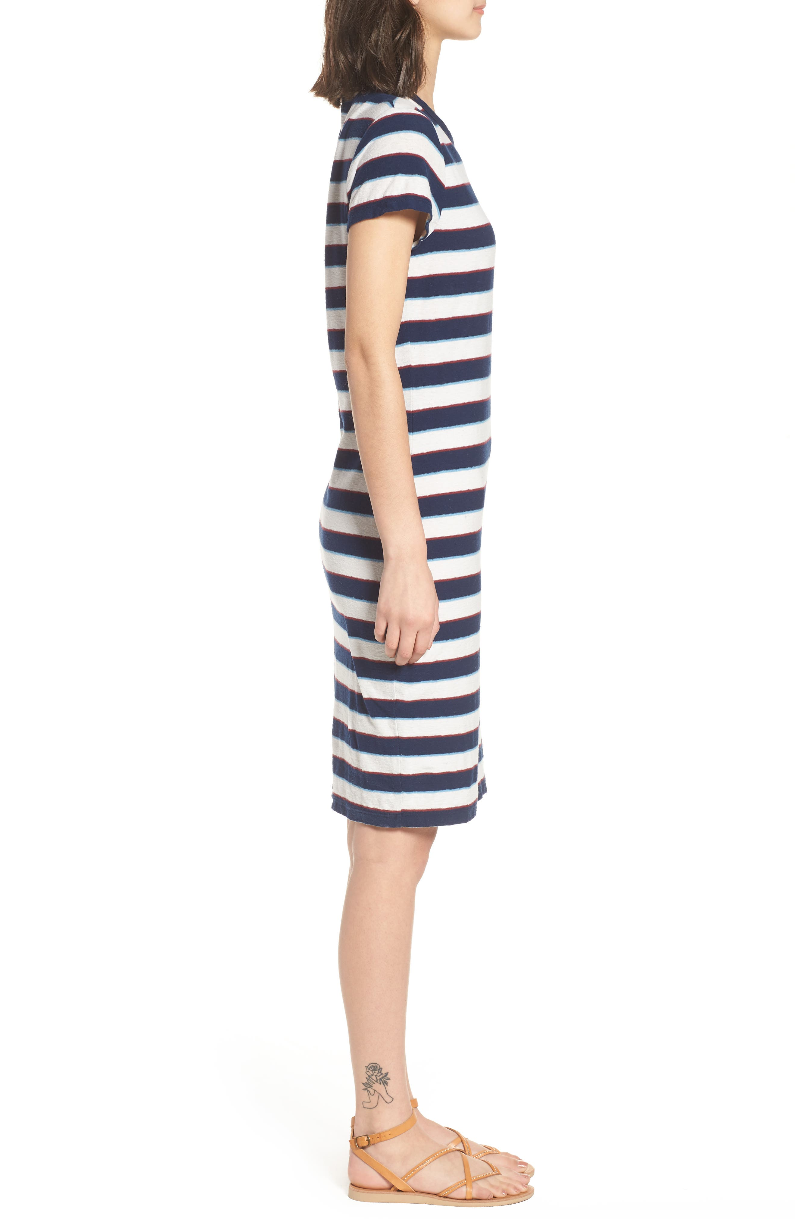 Vintage Stripe T-Shirt Dress,                             Alternate thumbnail 3, color,                             Navy Stripe