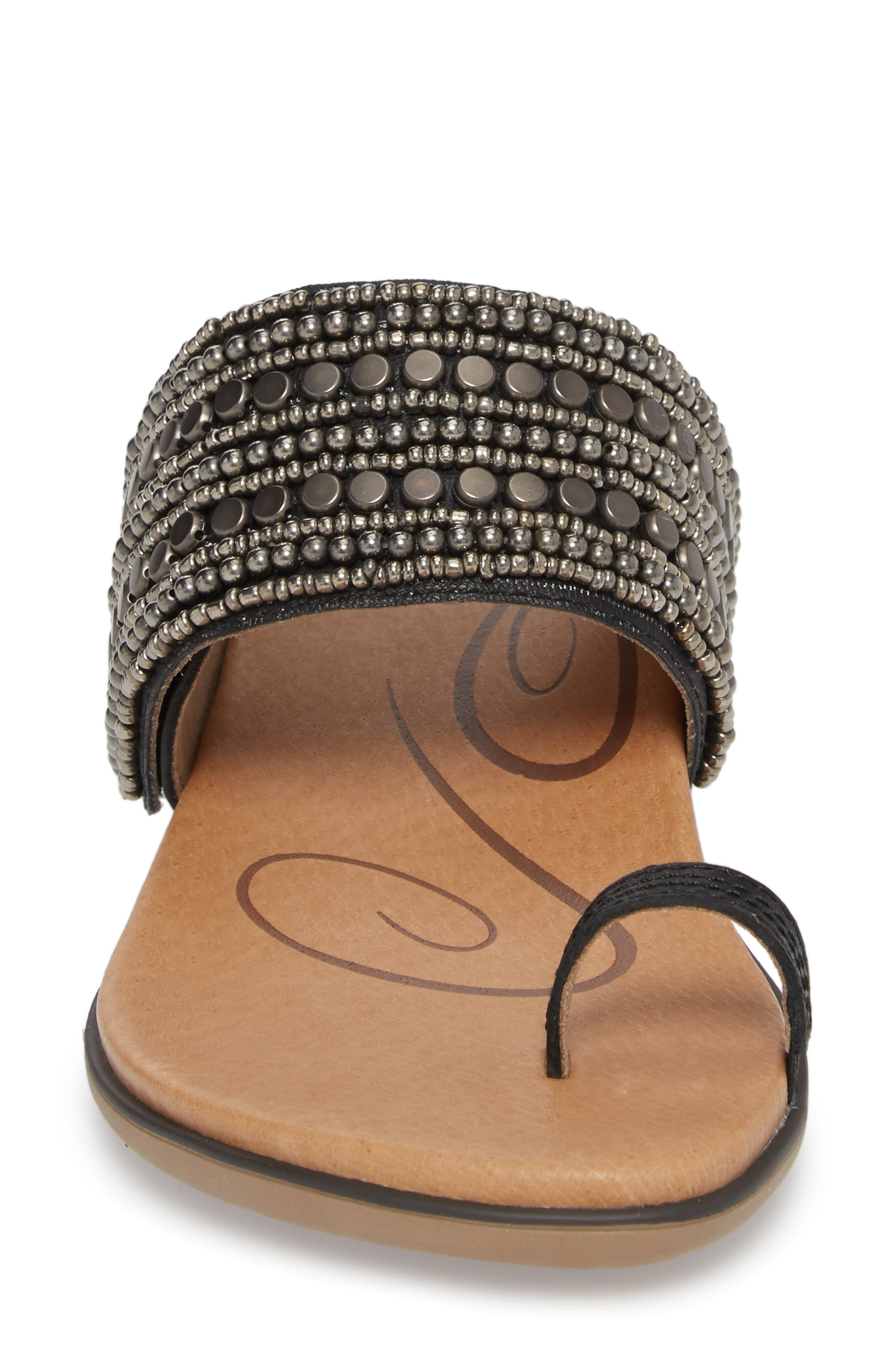 Layla Embellished Slide Sandal,                             Alternate thumbnail 4, color,                             Black Leather