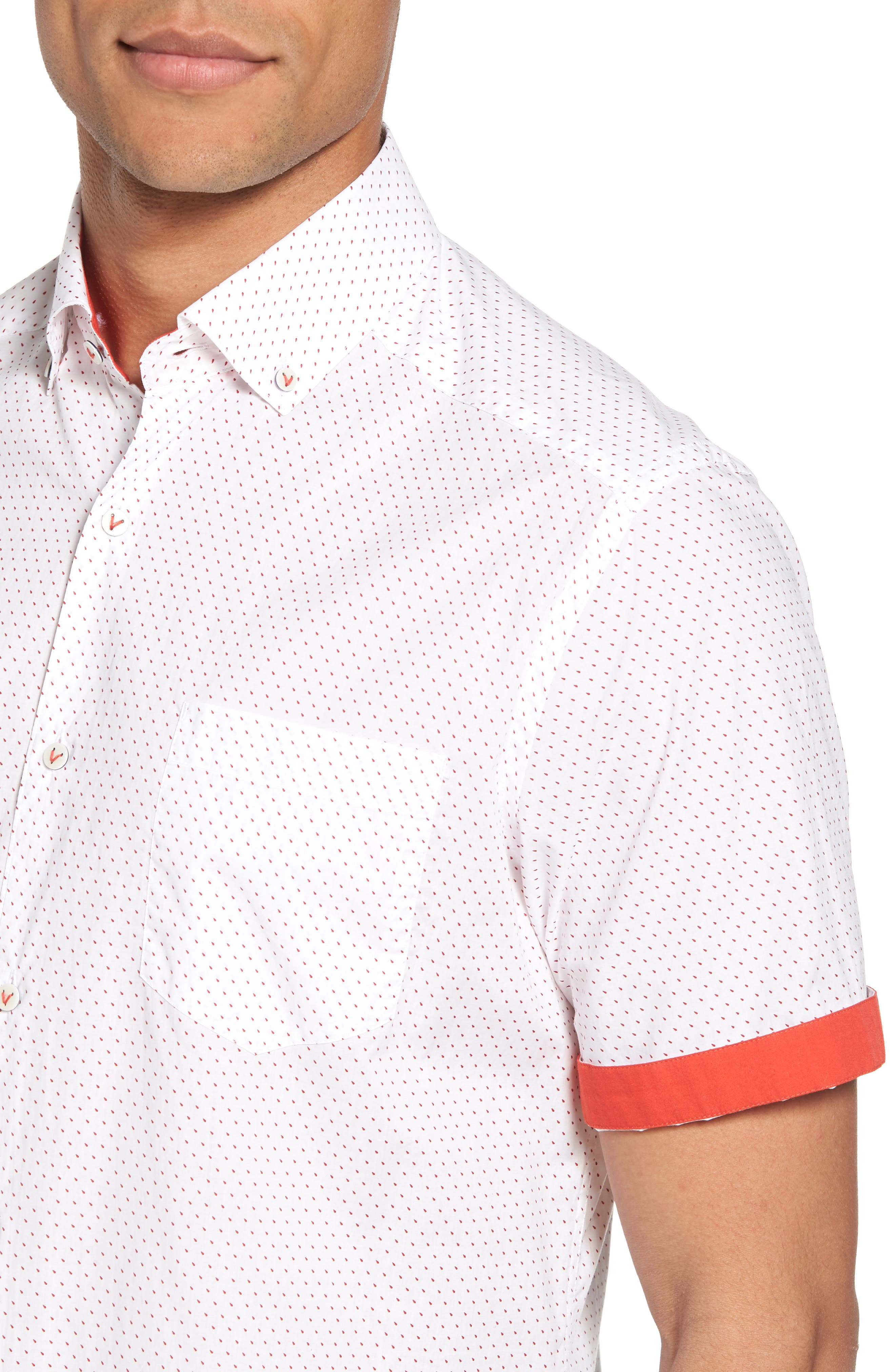 Dot Print Shirt,                             Alternate thumbnail 2, color,                             Canvas / Red Coral