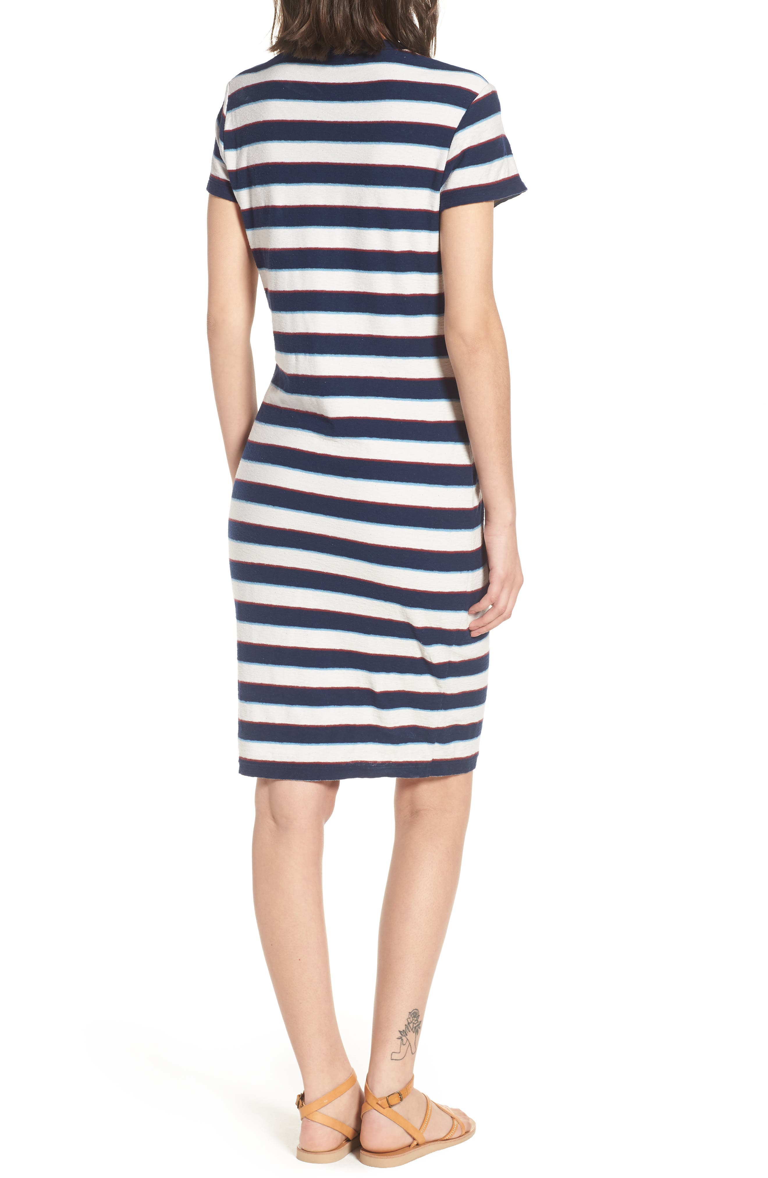 Vintage Stripe T-Shirt Dress,                             Alternate thumbnail 2, color,                             Navy Stripe