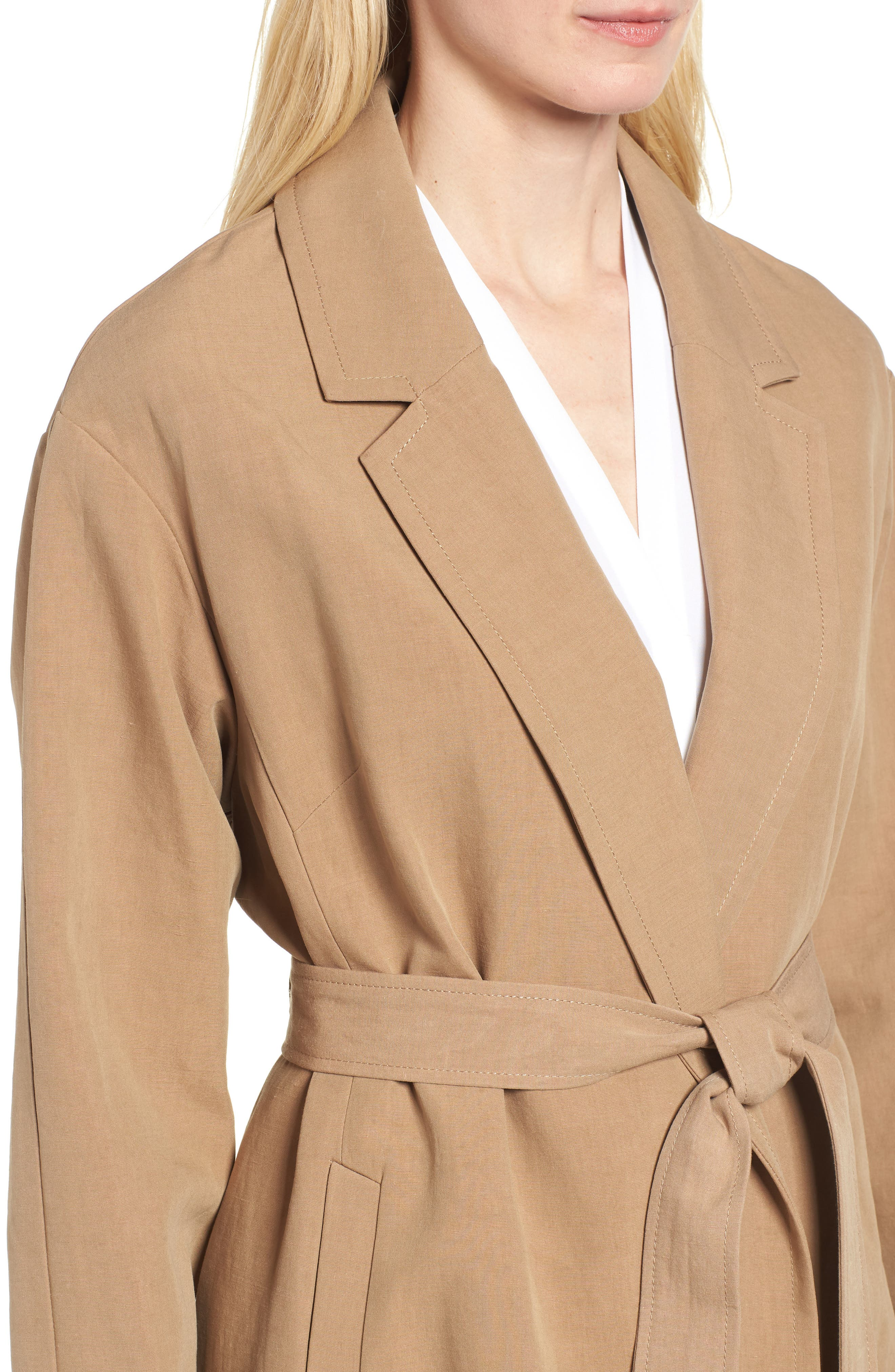 Double Face Wrap Maxi Jacket,                             Alternate thumbnail 4, color,                             Toffee