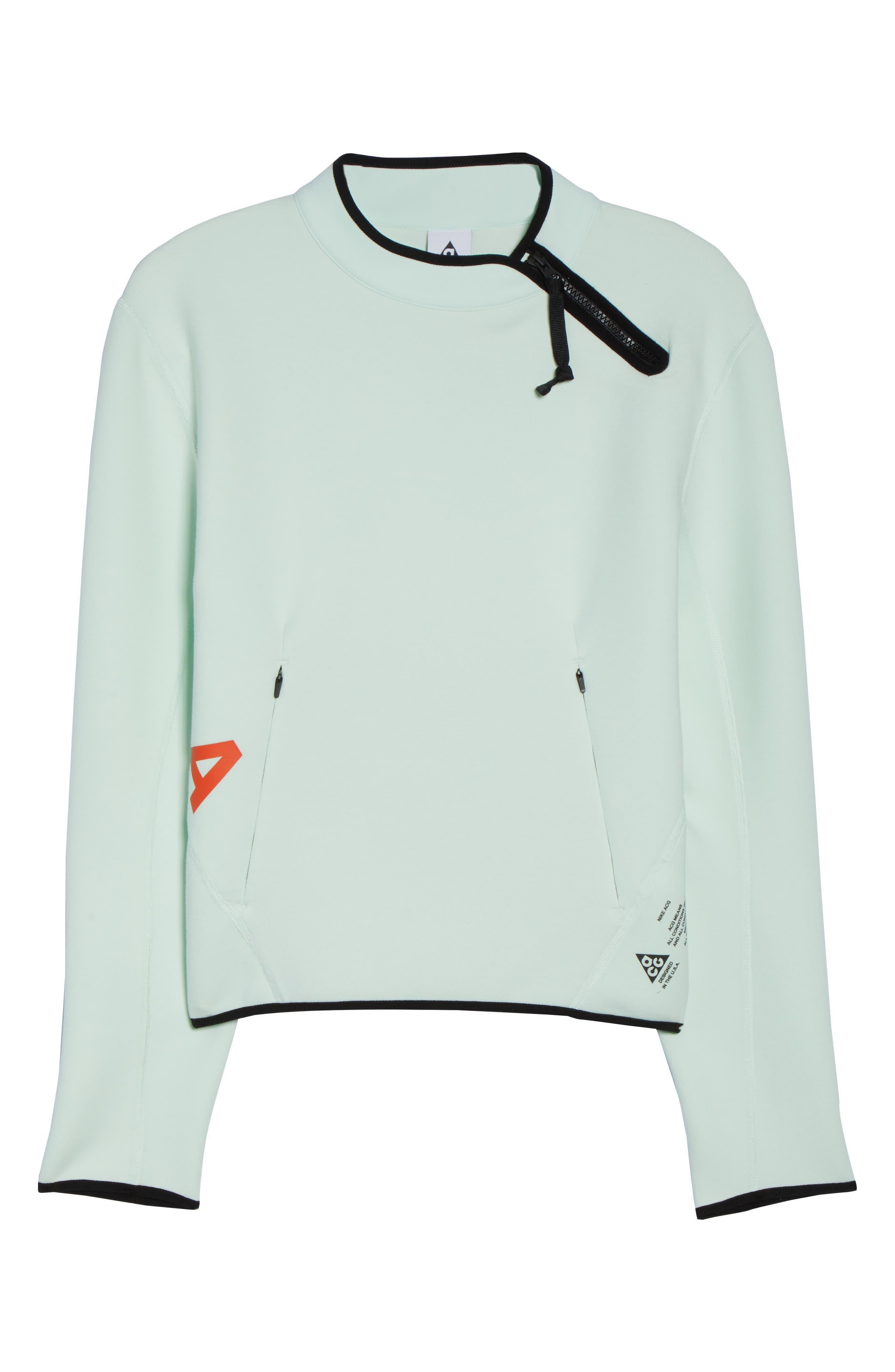 NikeLab ACG Fleece Women's Crewneck Top,                             Alternate thumbnail 7, color,                             Barely Green/ Team Orange