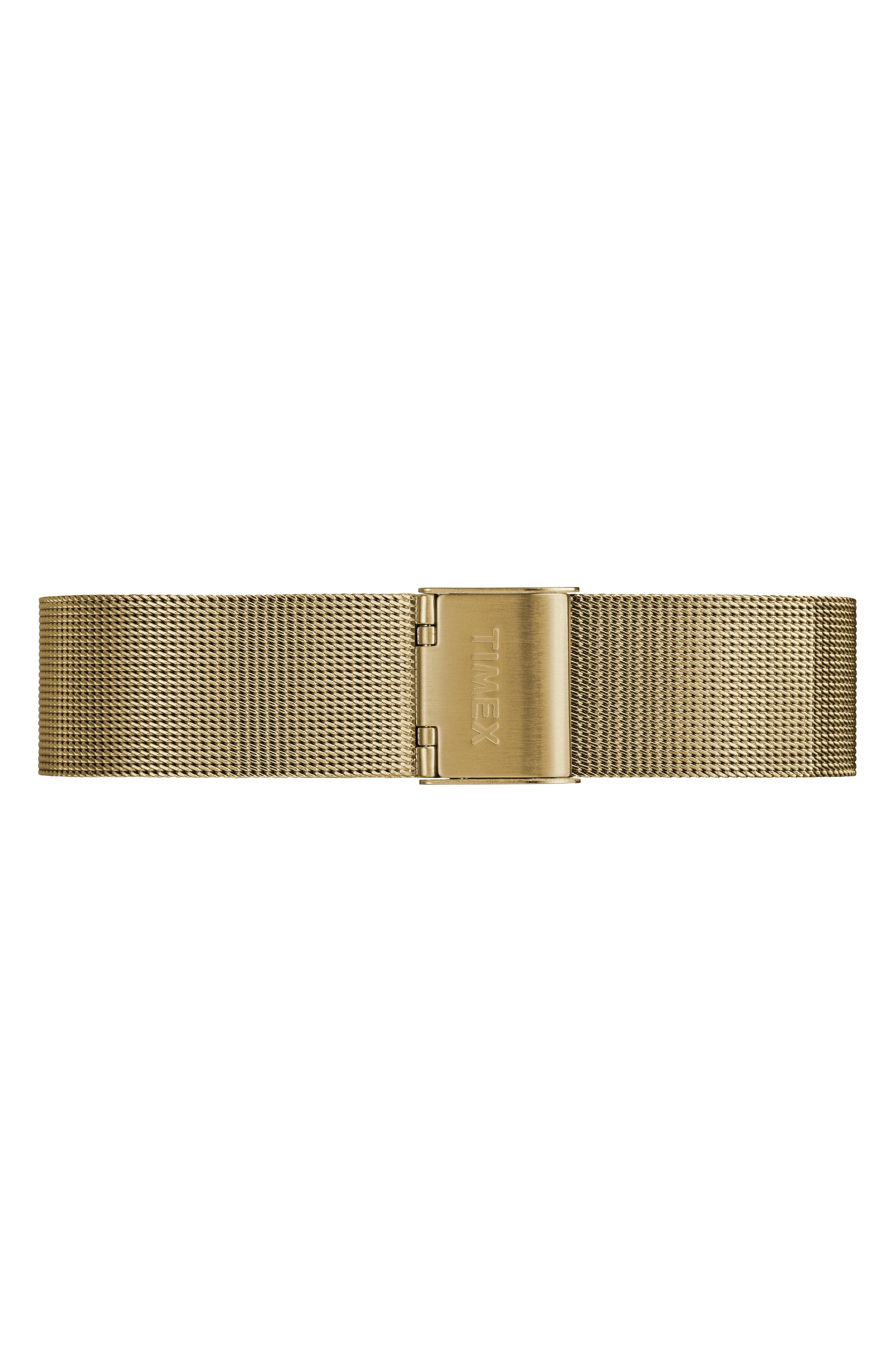 Timex Fairfield Mesh Strap Watch, 37mm,                             Alternate thumbnail 2, color,                             Gold/ White/ Gold