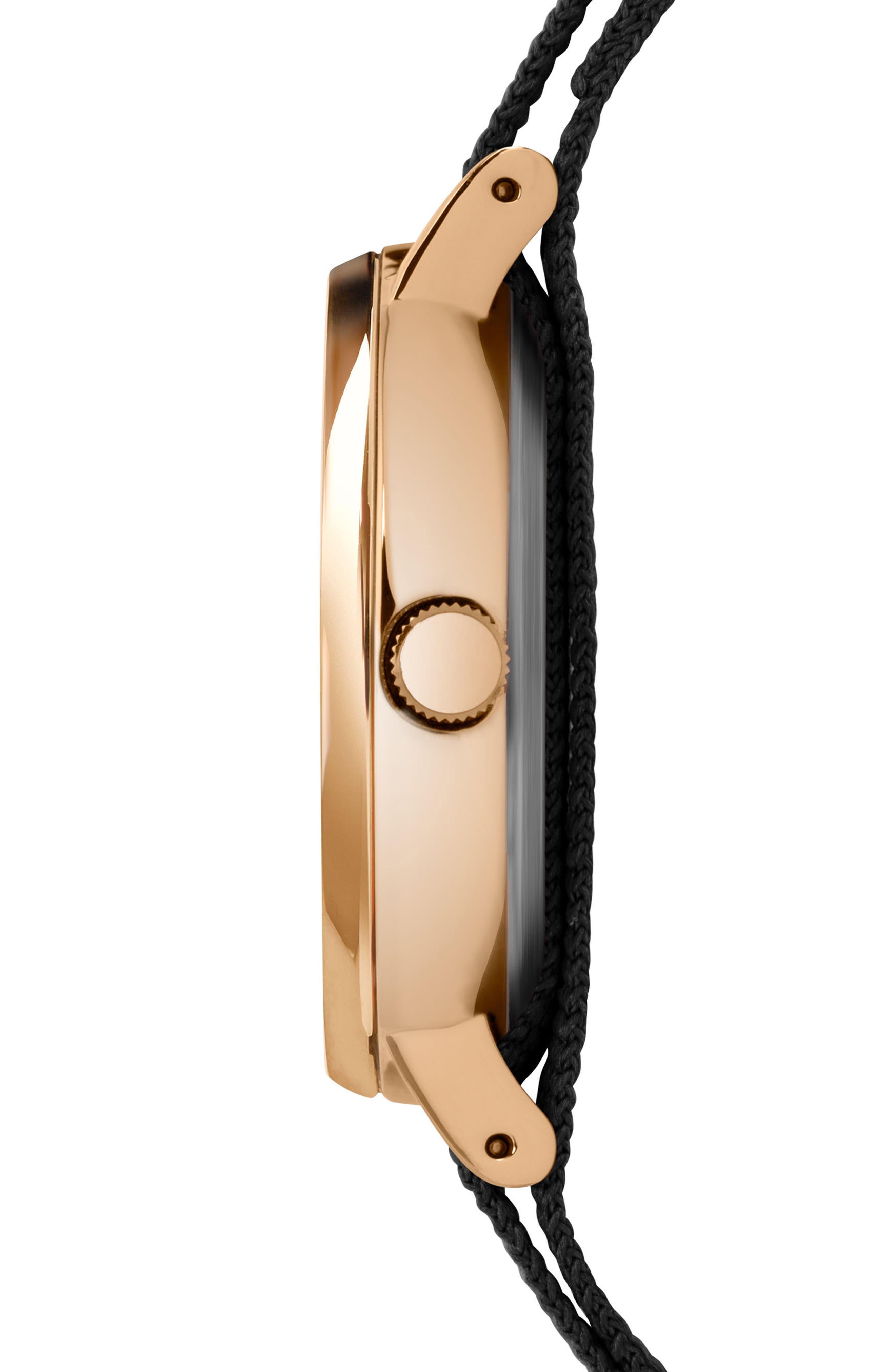 Fairfield Nylon Strap Watch, 37mm,                             Alternate thumbnail 2, color,                             Black/ Gold