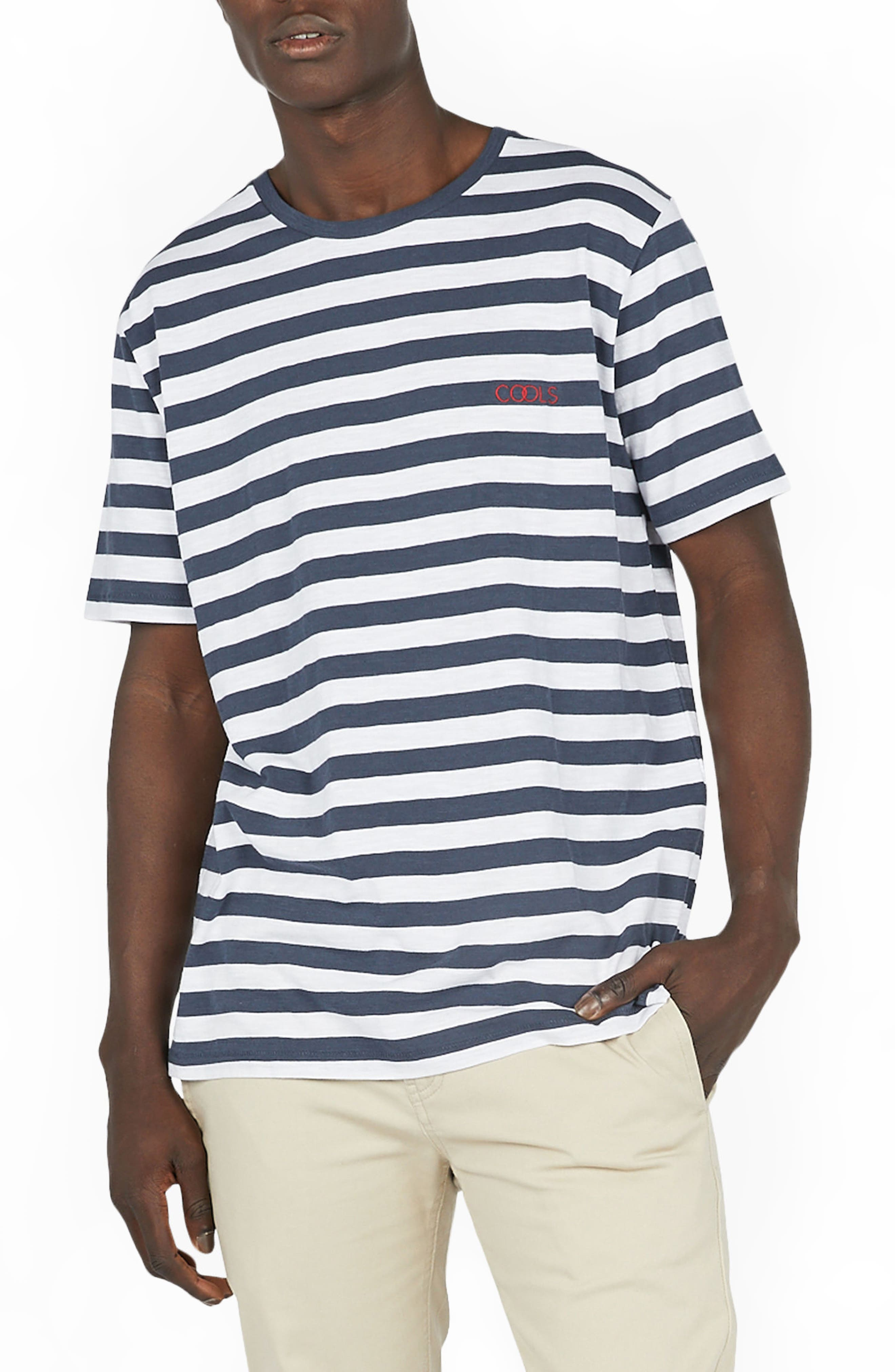 Logo Embroidered T-Shirt,                             Main thumbnail 1, color,                             Navy Stripe