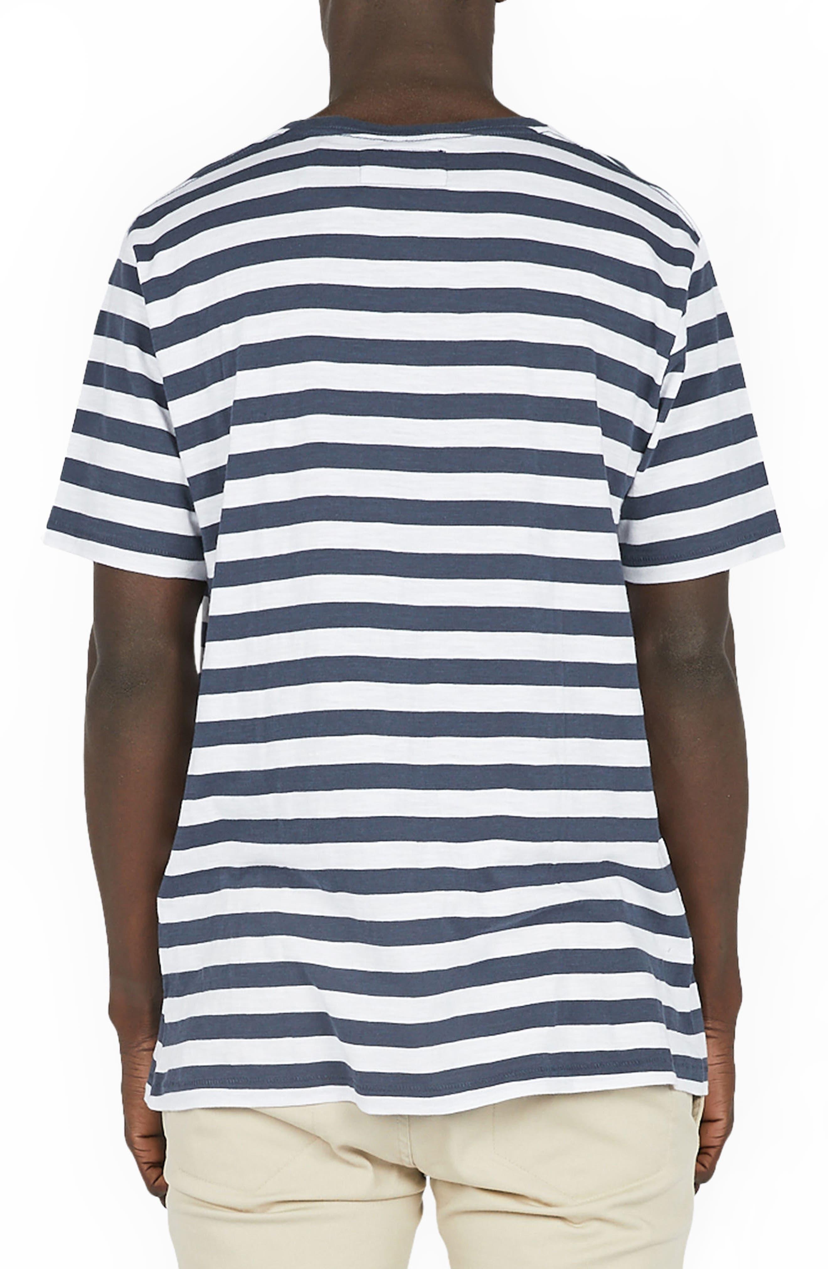 Logo Embroidered T-Shirt,                             Alternate thumbnail 2, color,                             Navy Stripe