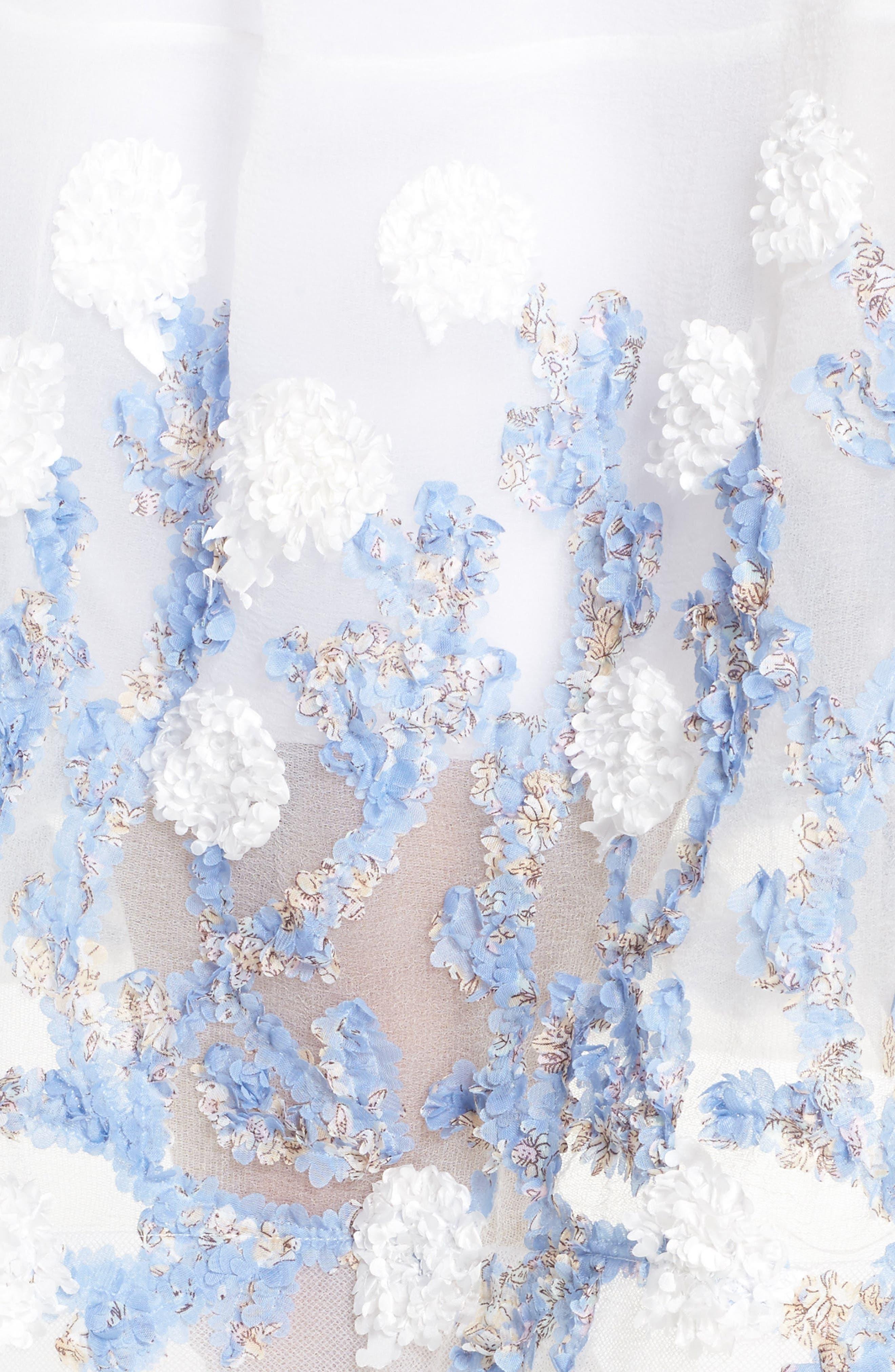 Malvina Embroidered Hem Fit & Flare Dress,                             Alternate thumbnail 4, color,                             White/ Blue