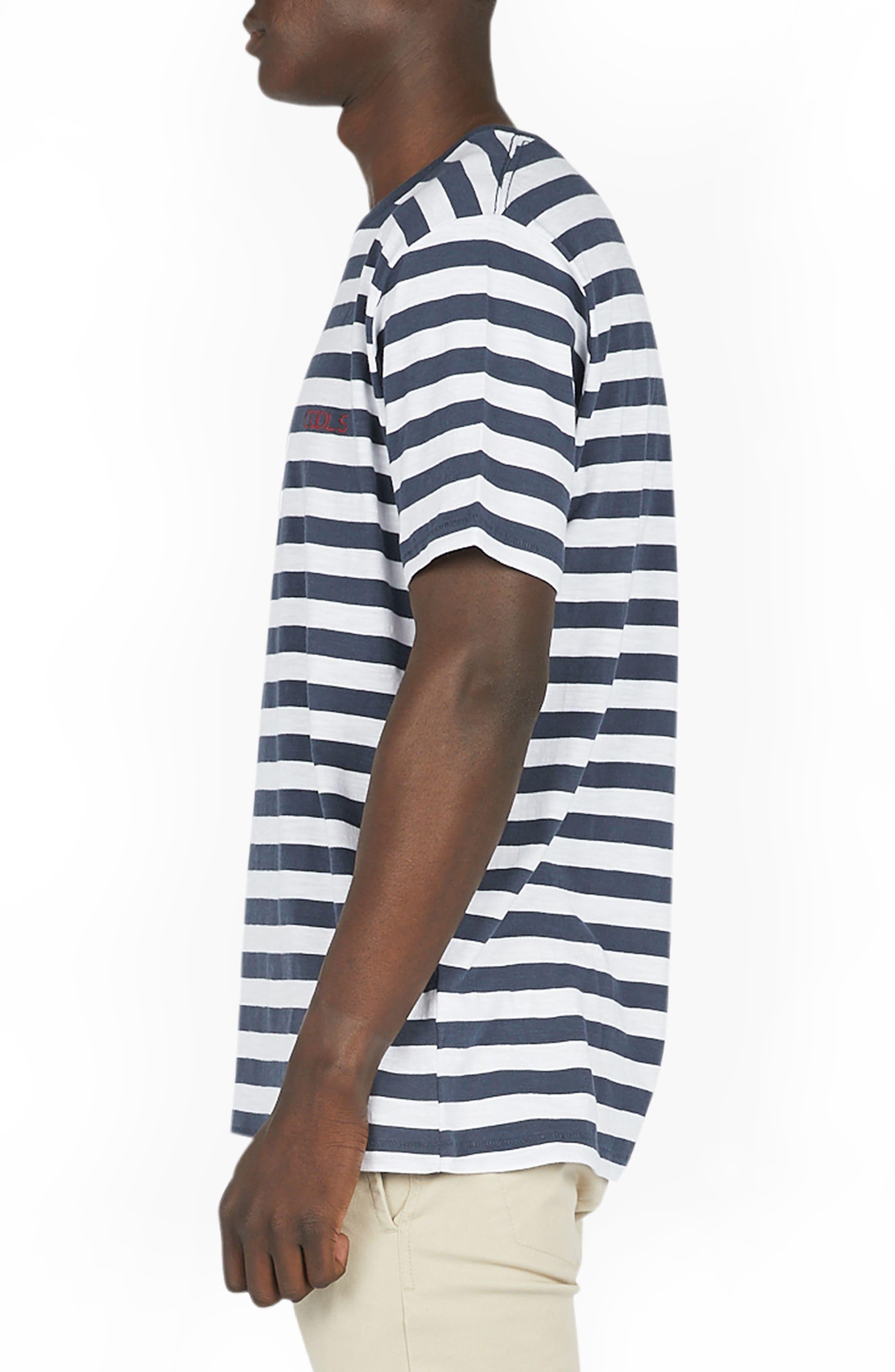 Logo Embroidered T-Shirt,                             Alternate thumbnail 3, color,                             Navy Stripe