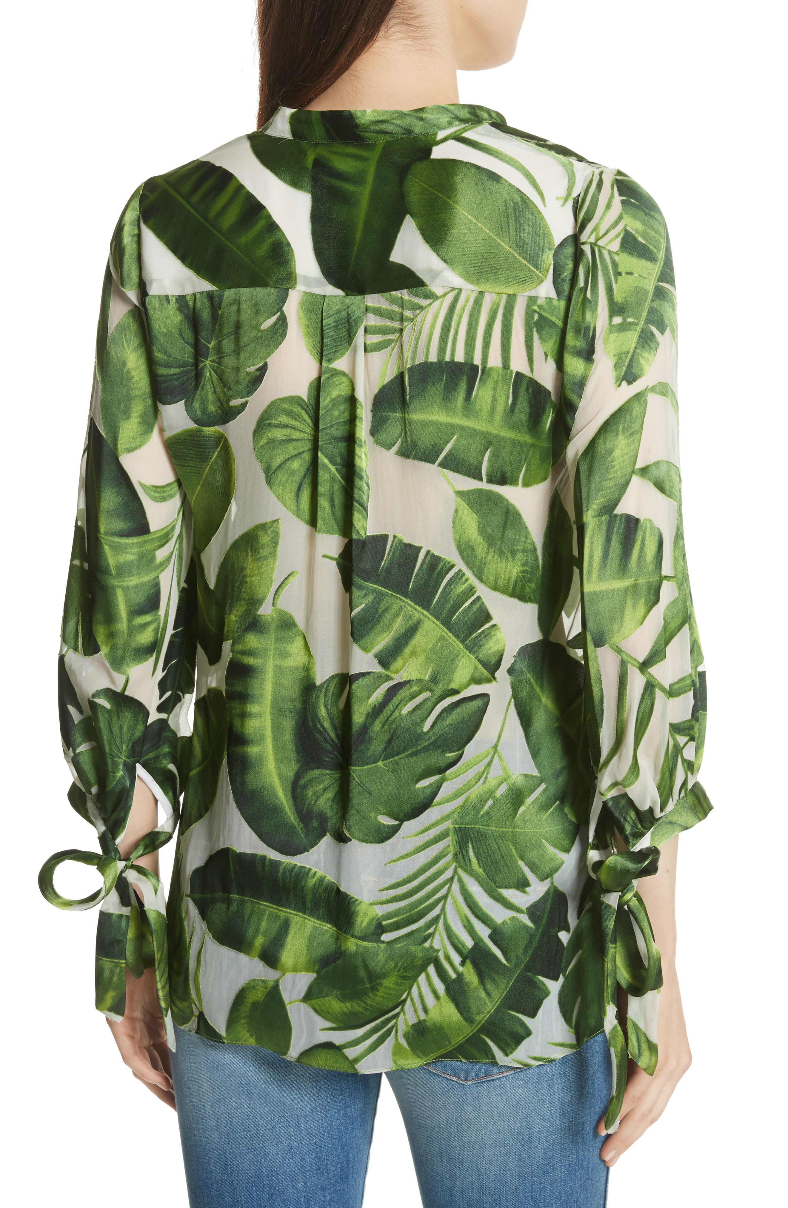 Sheila Tie Sleeve Top,                             Alternate thumbnail 2, color,                             Tropical Leaves