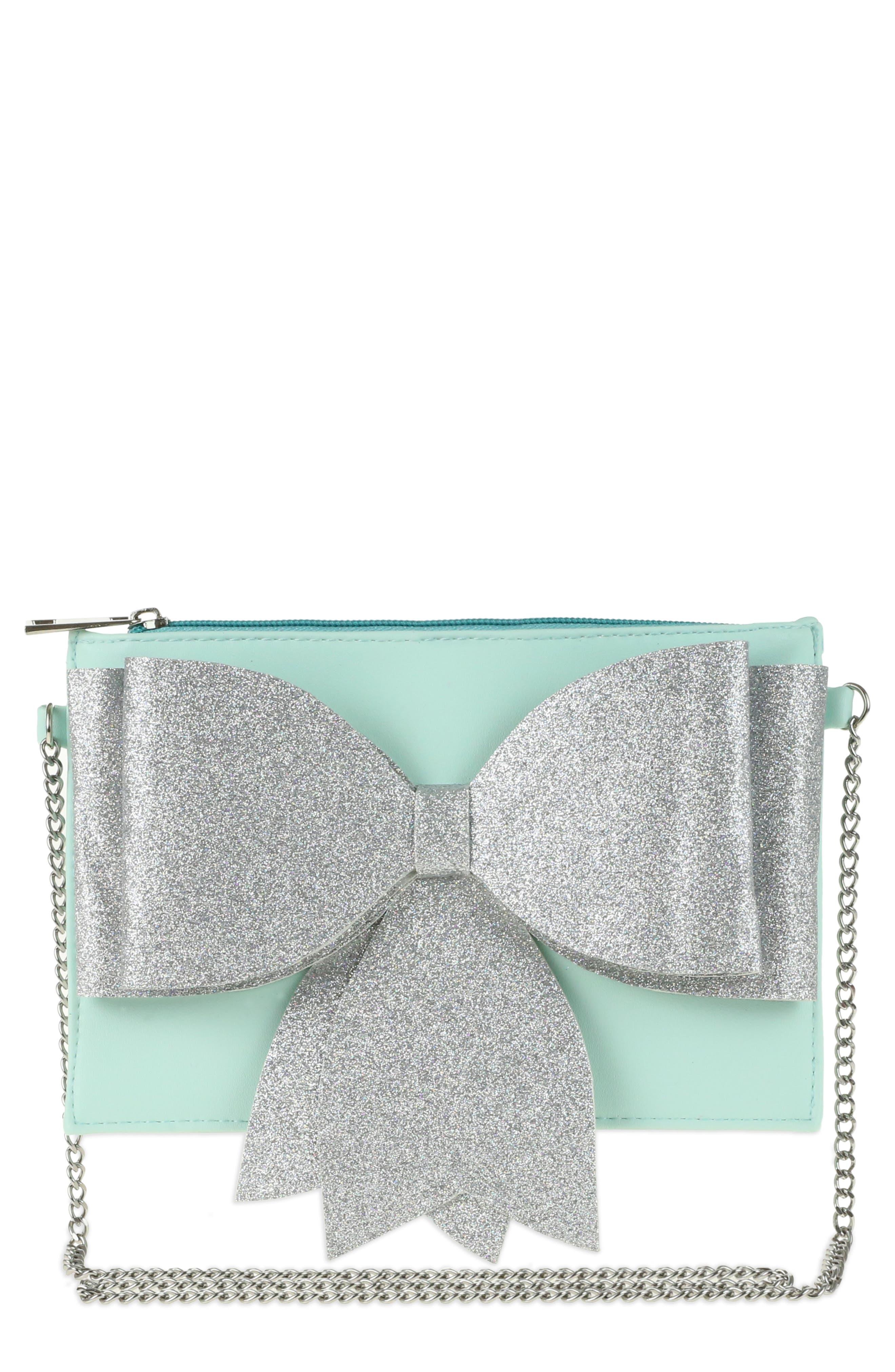 Glitter Bow Crossbody Bag,                             Main thumbnail 1, color,                             Mint