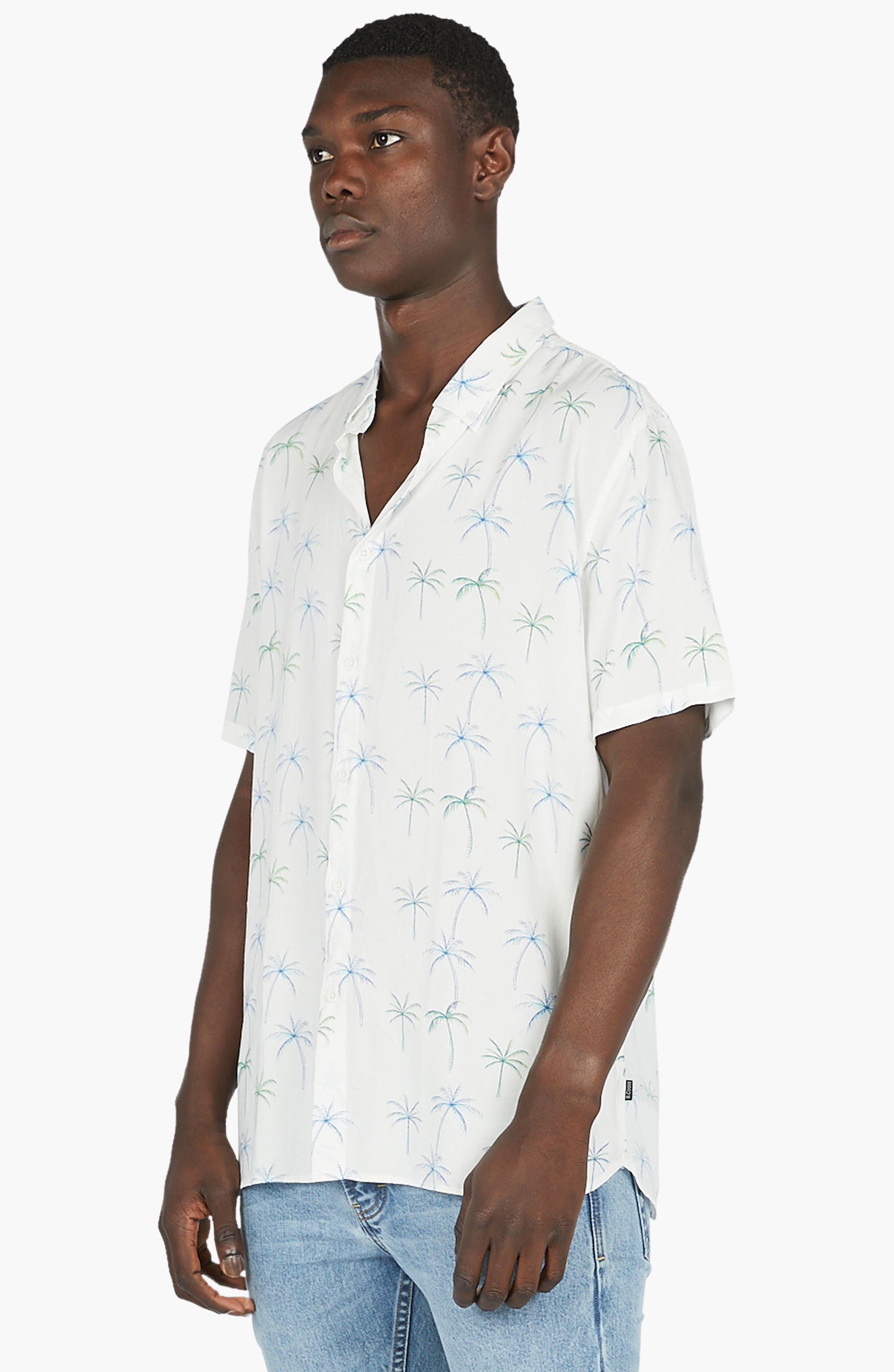 Holiday Woven Shirt,                             Alternate thumbnail 4, color,                             White Palm