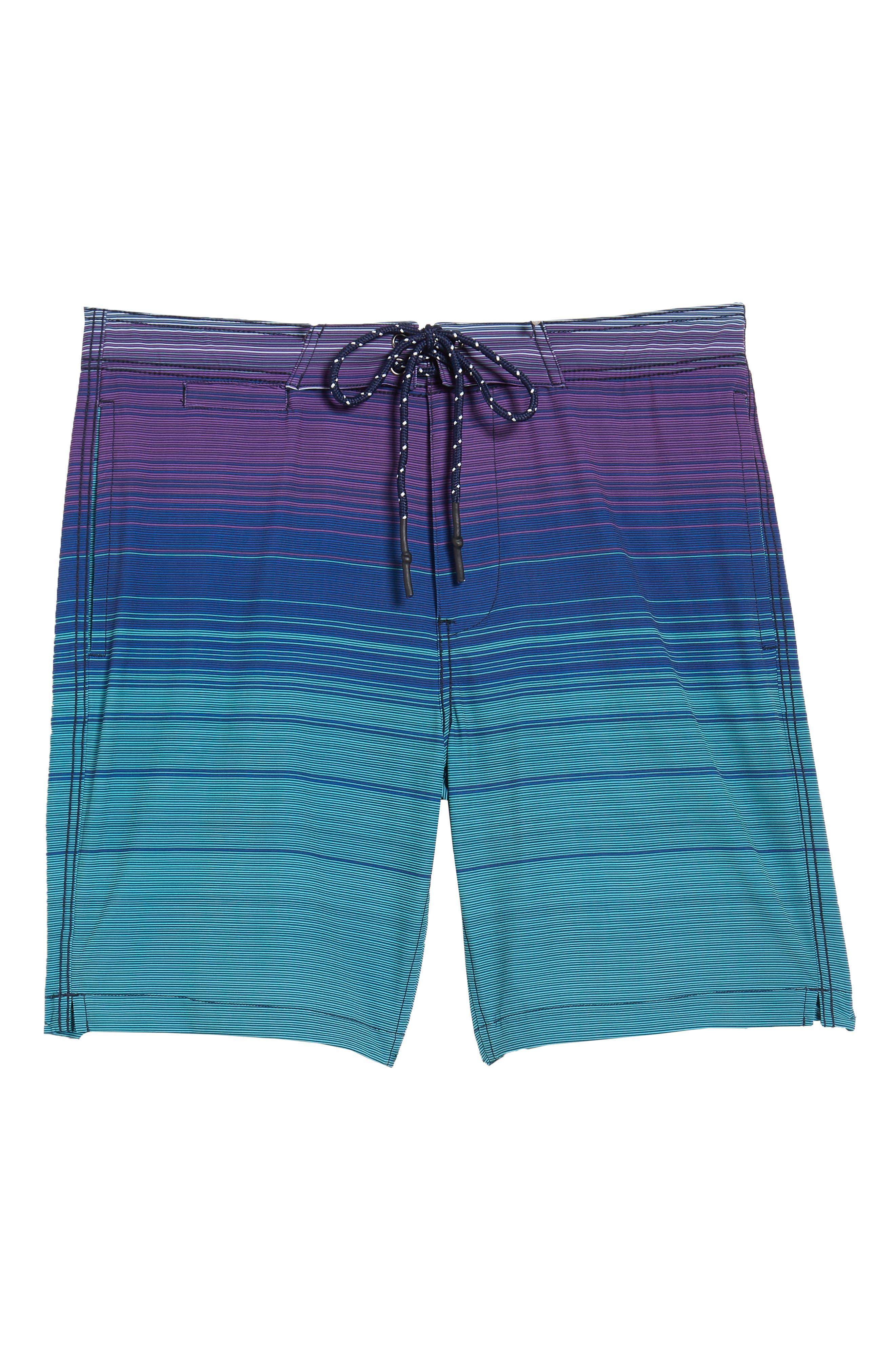 Ombré Stretch Stripe Board Shorts,                             Alternate thumbnail 6, color,                             Silver Pine