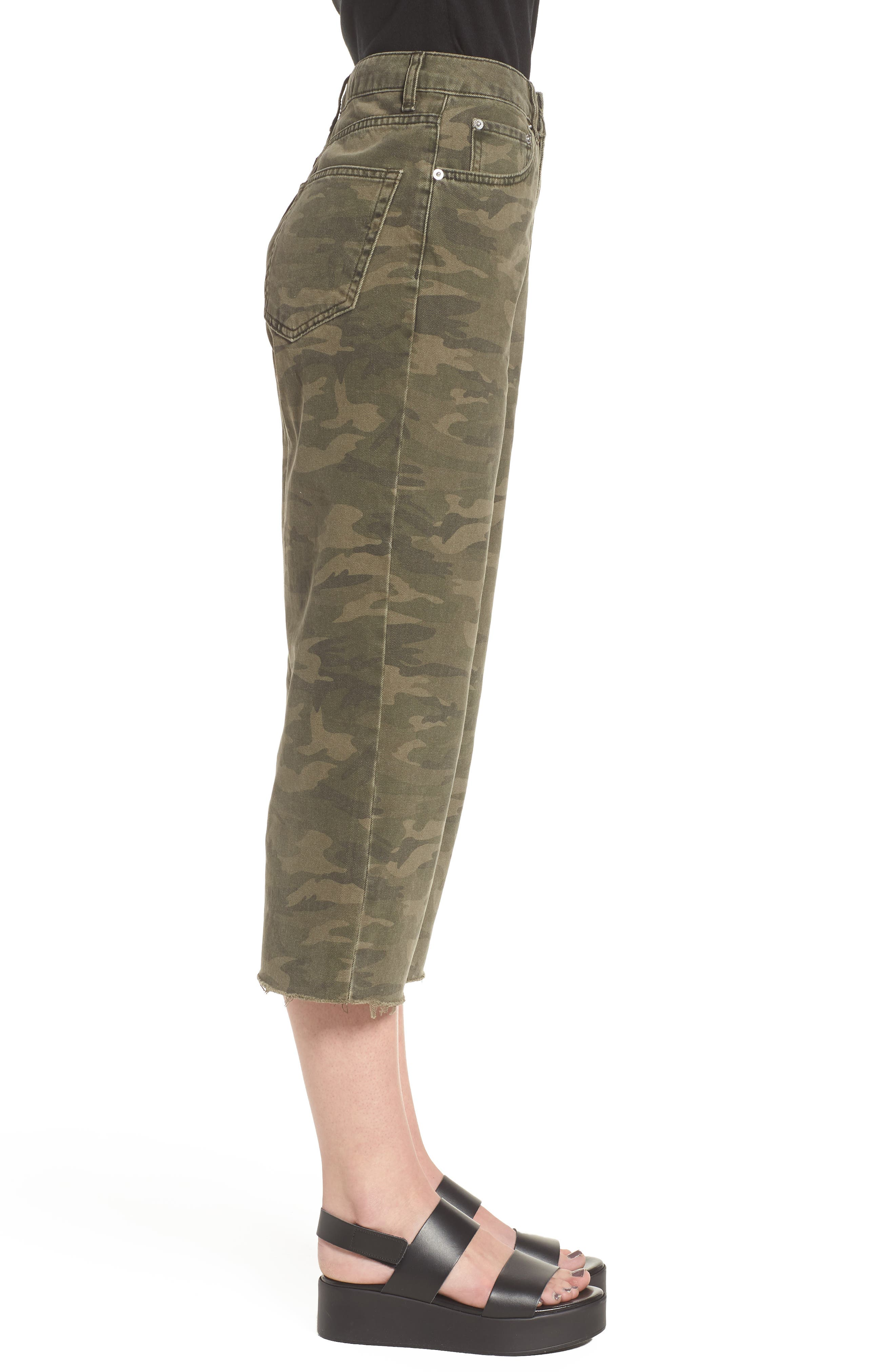 Camo Wide Leg Trousers,                             Alternate thumbnail 3, color,                             Olive