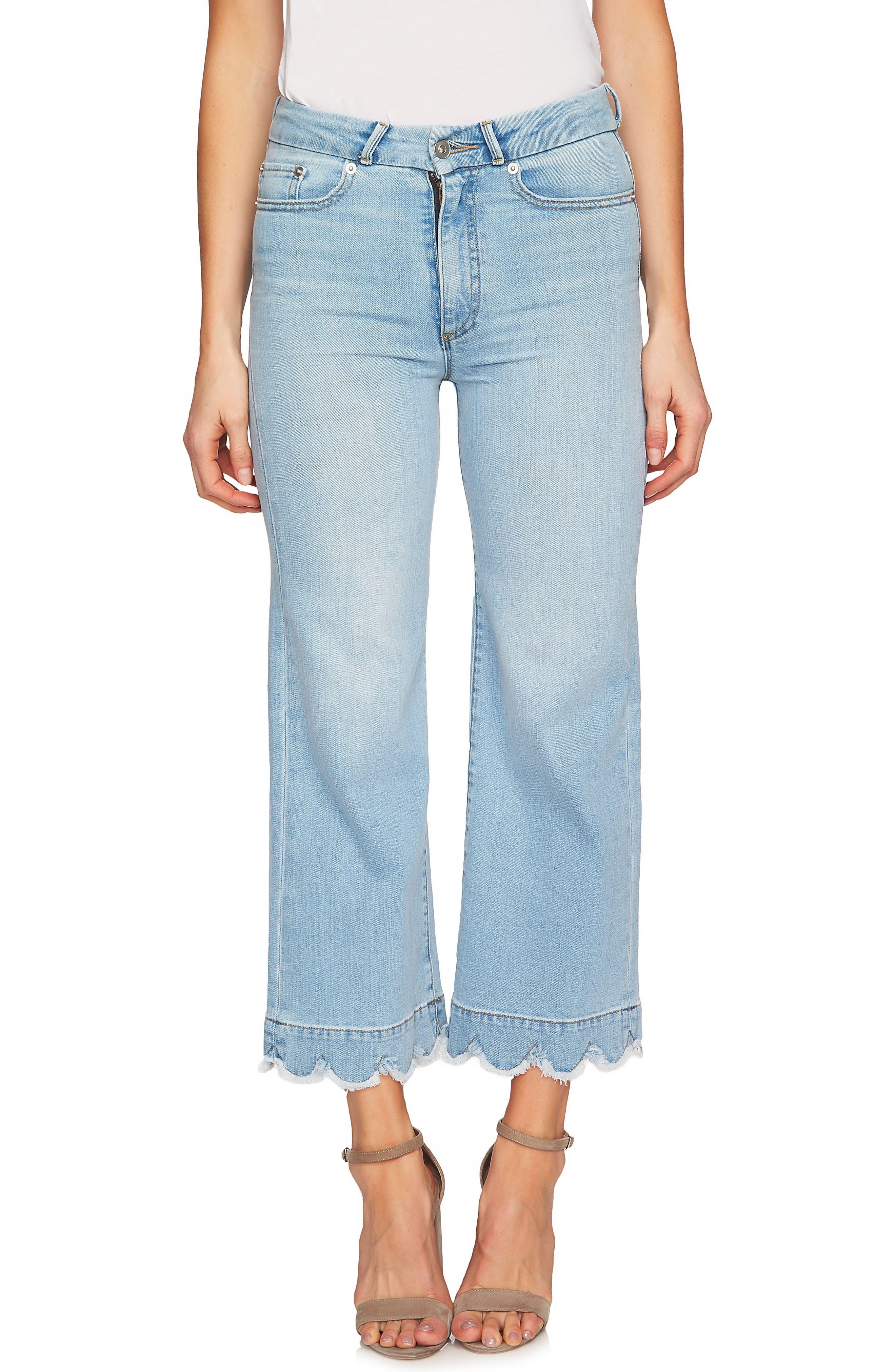CeCe Scalloped Non-Stretch Denim Jeans (Indigo Surf)