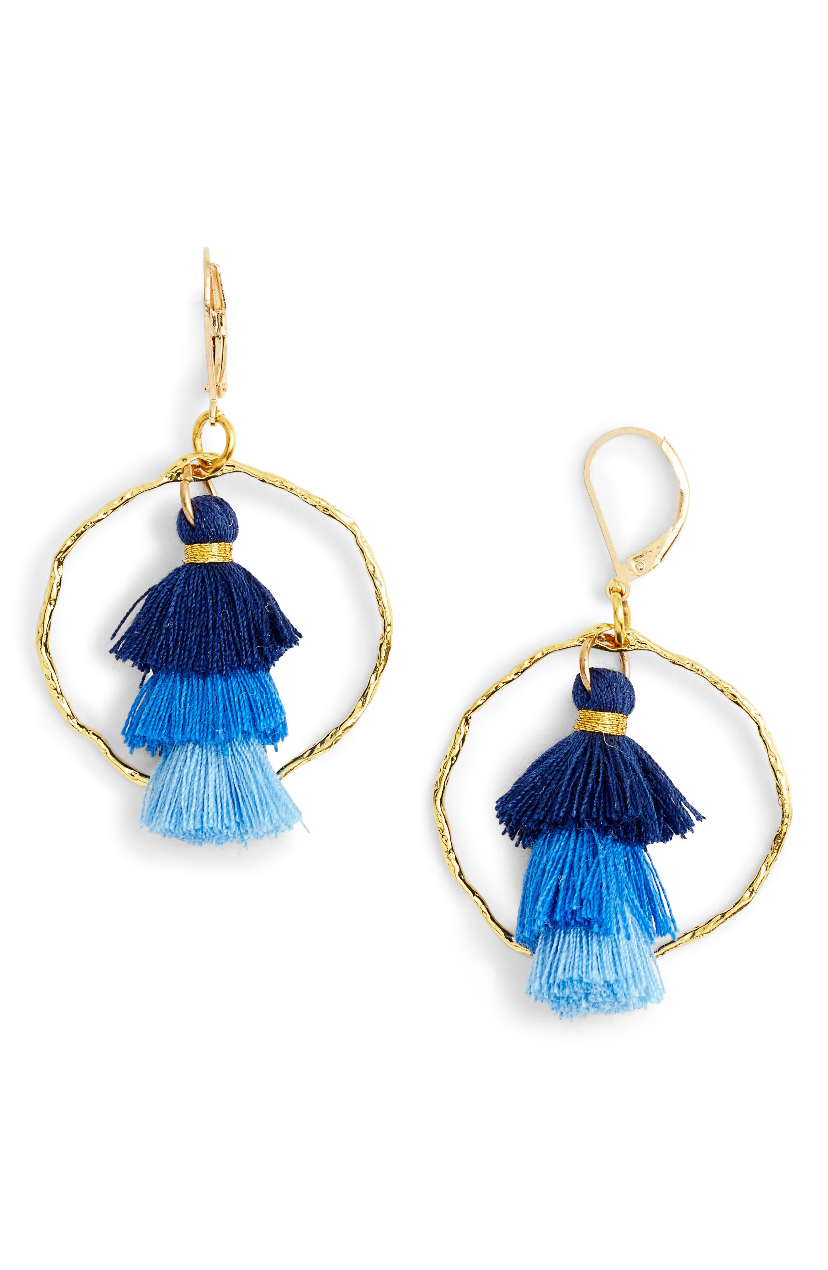 Ibiza Tassel & Hammered Hoop Earrings,                             Main thumbnail 1, color,                             Blue/ Gold