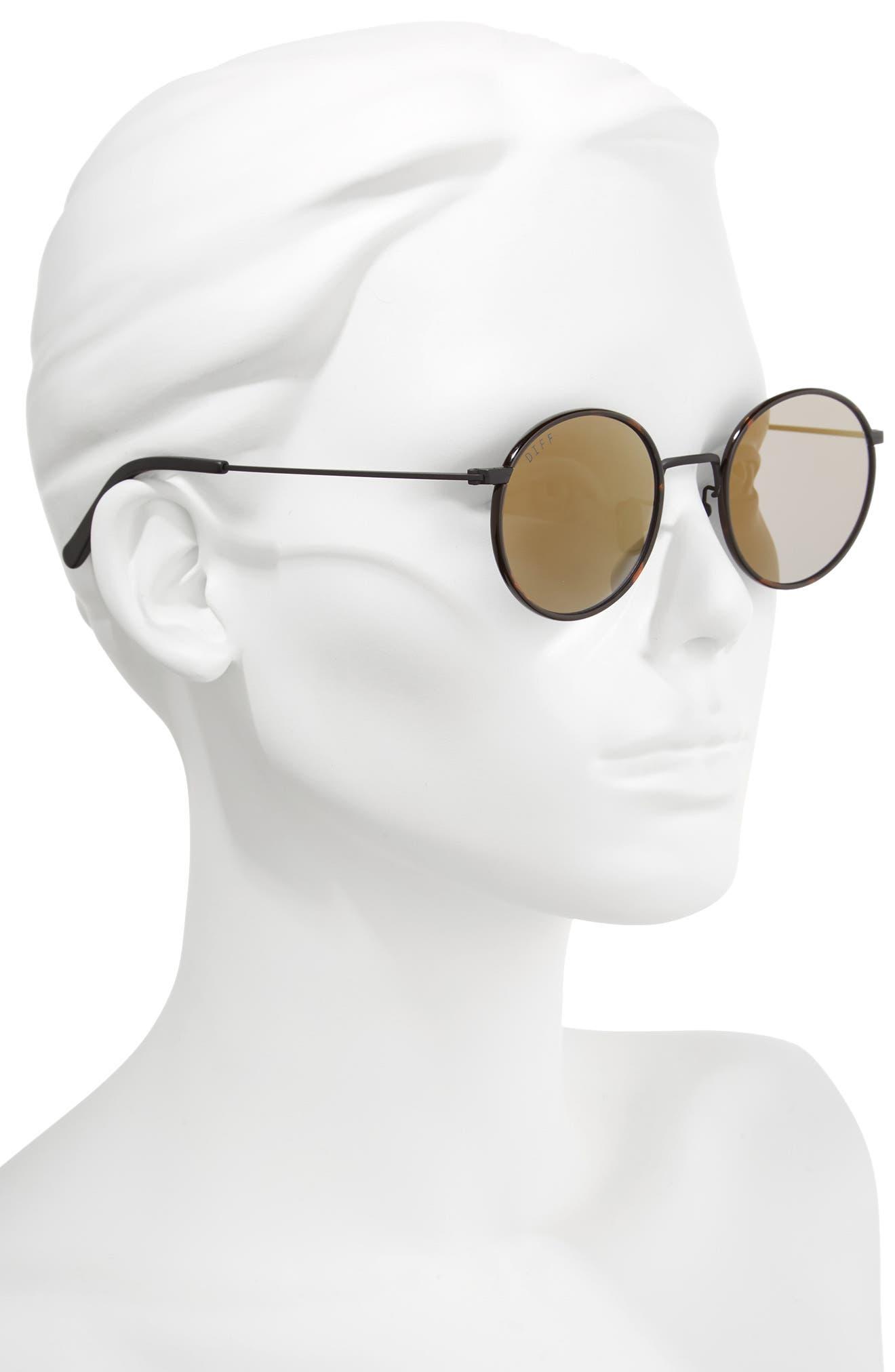 Daisy 57mm Polarized Round Lens Sunglasses,                             Alternate thumbnail 2, color,                             Matte Black/ Grey Blue