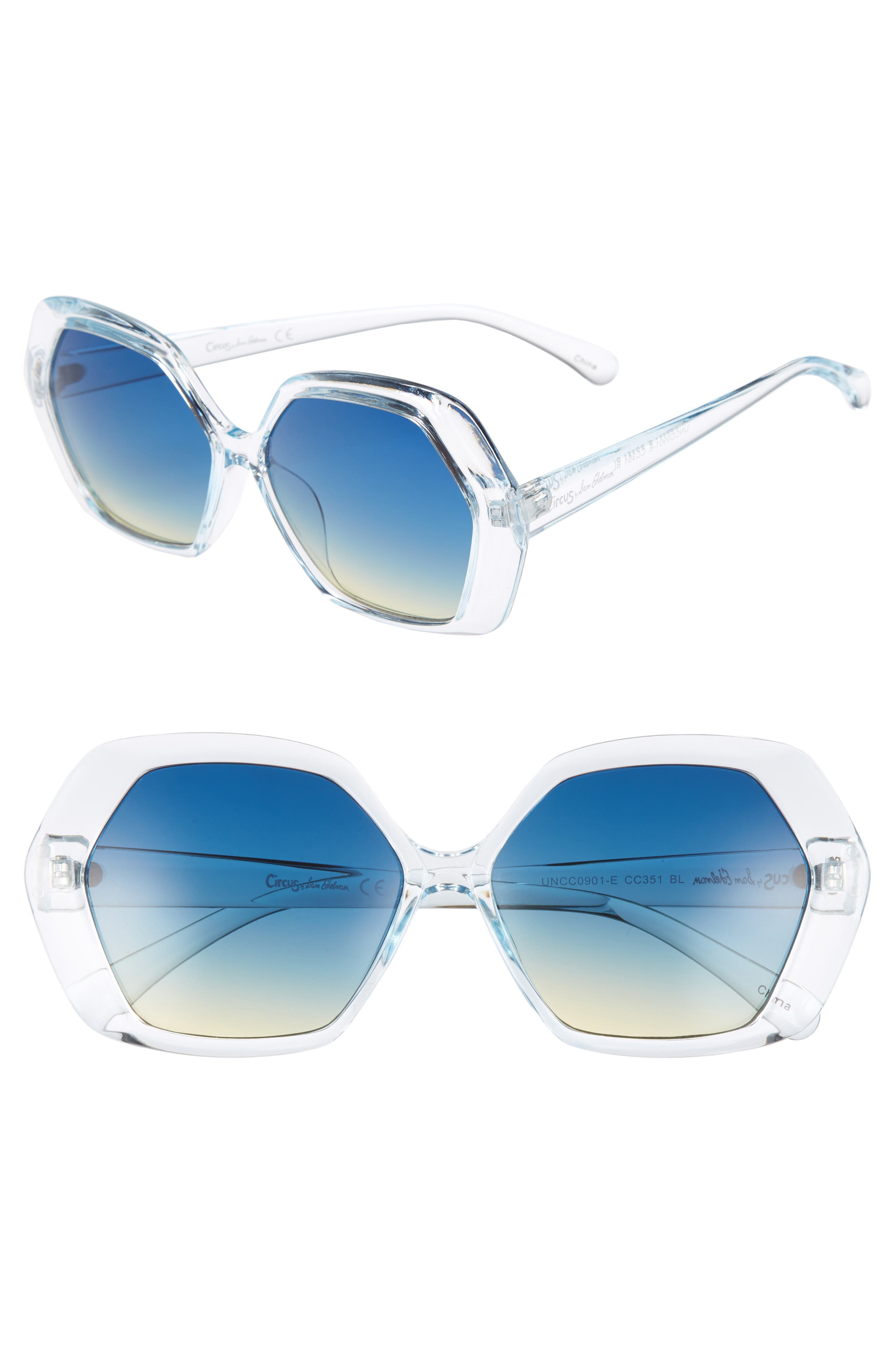 57mm Geo Glam Sunglasses,                             Main thumbnail 1, color,                             Blue