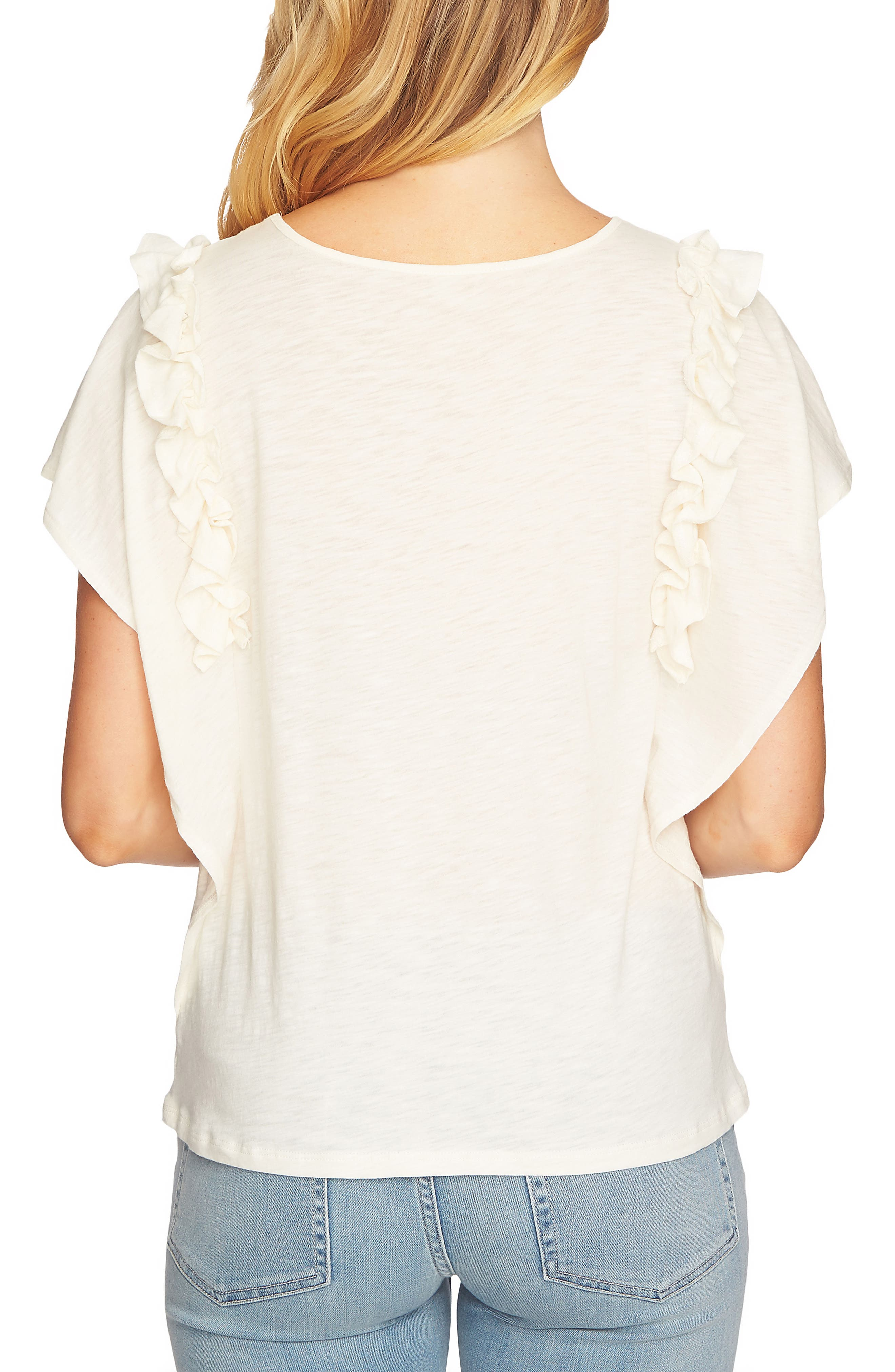 Ruffle Sleeve Top,                             Alternate thumbnail 2, color,                             Antique White