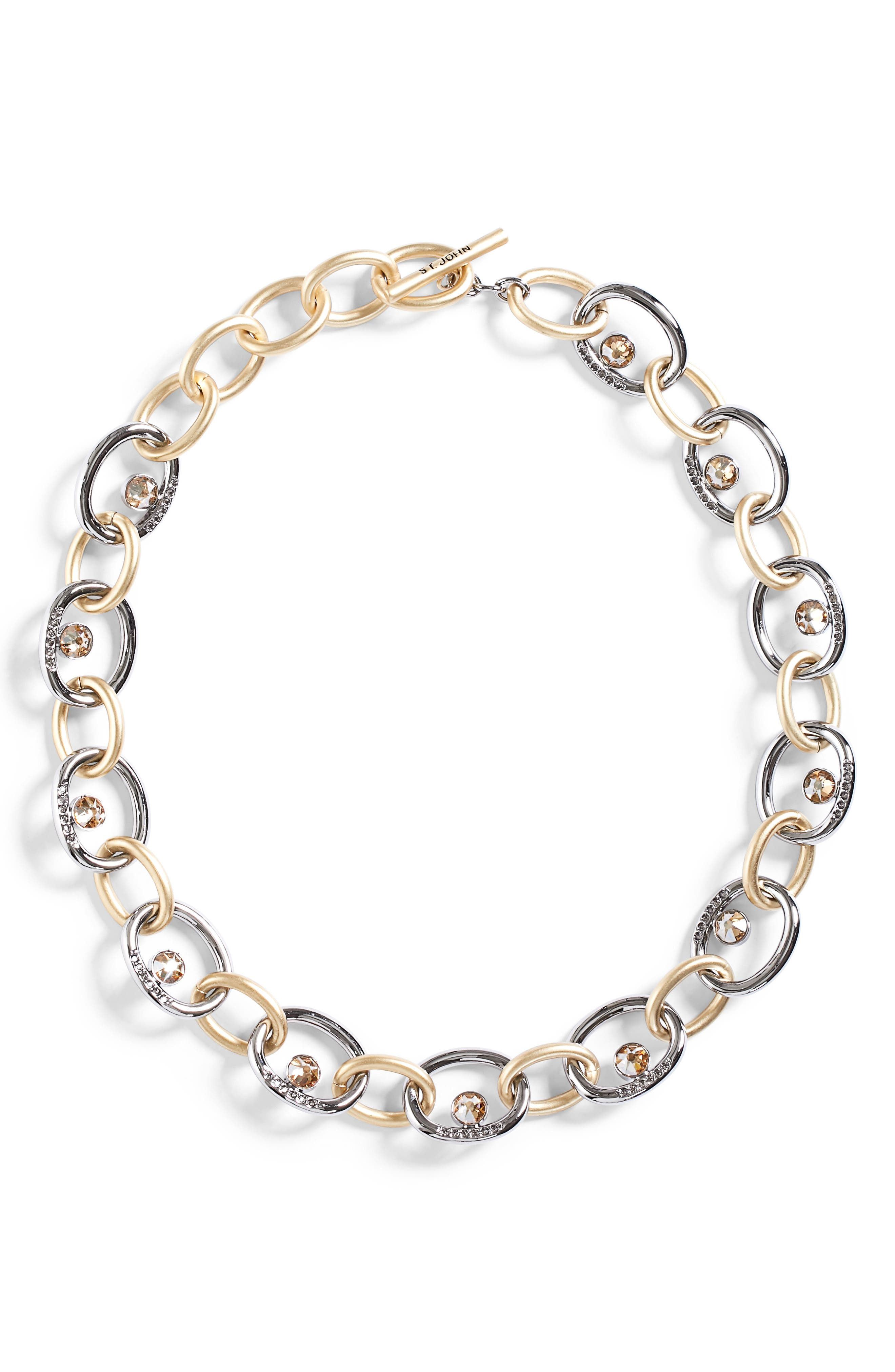 St. John Collection Swarovski Crystal & Metal Chain Necklace
