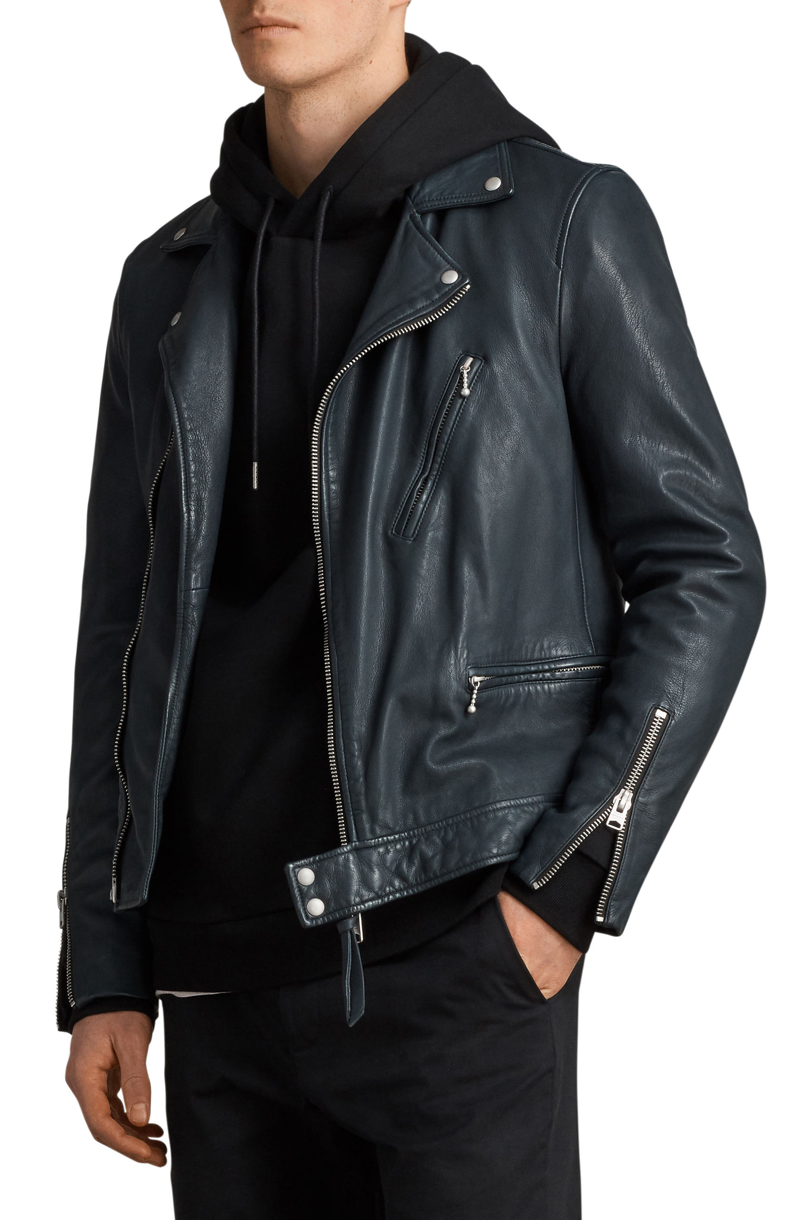 ALLSAINTS Carver Slim Fit Leather Biker Jacket