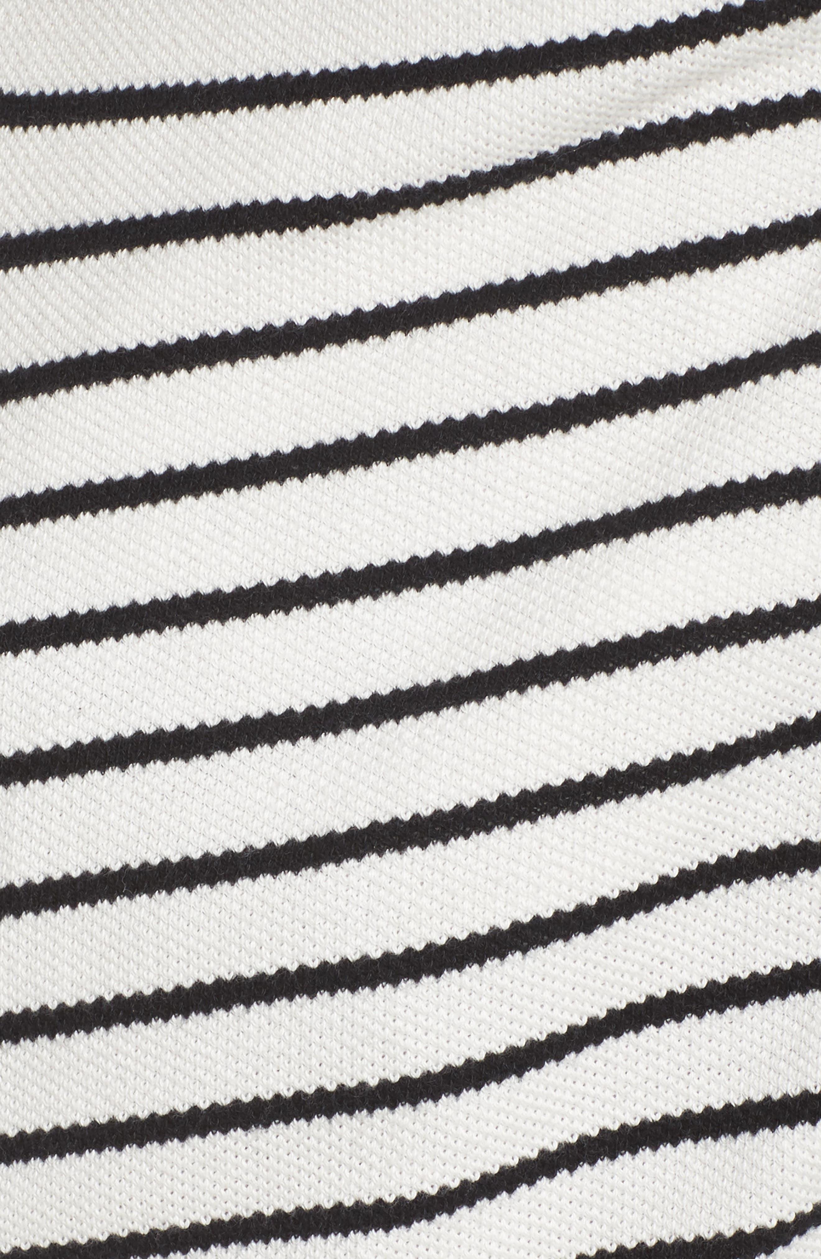Stripe Peacoat Knit Jacket,                             Alternate thumbnail 6, color,                             Ivory- Black Stripe