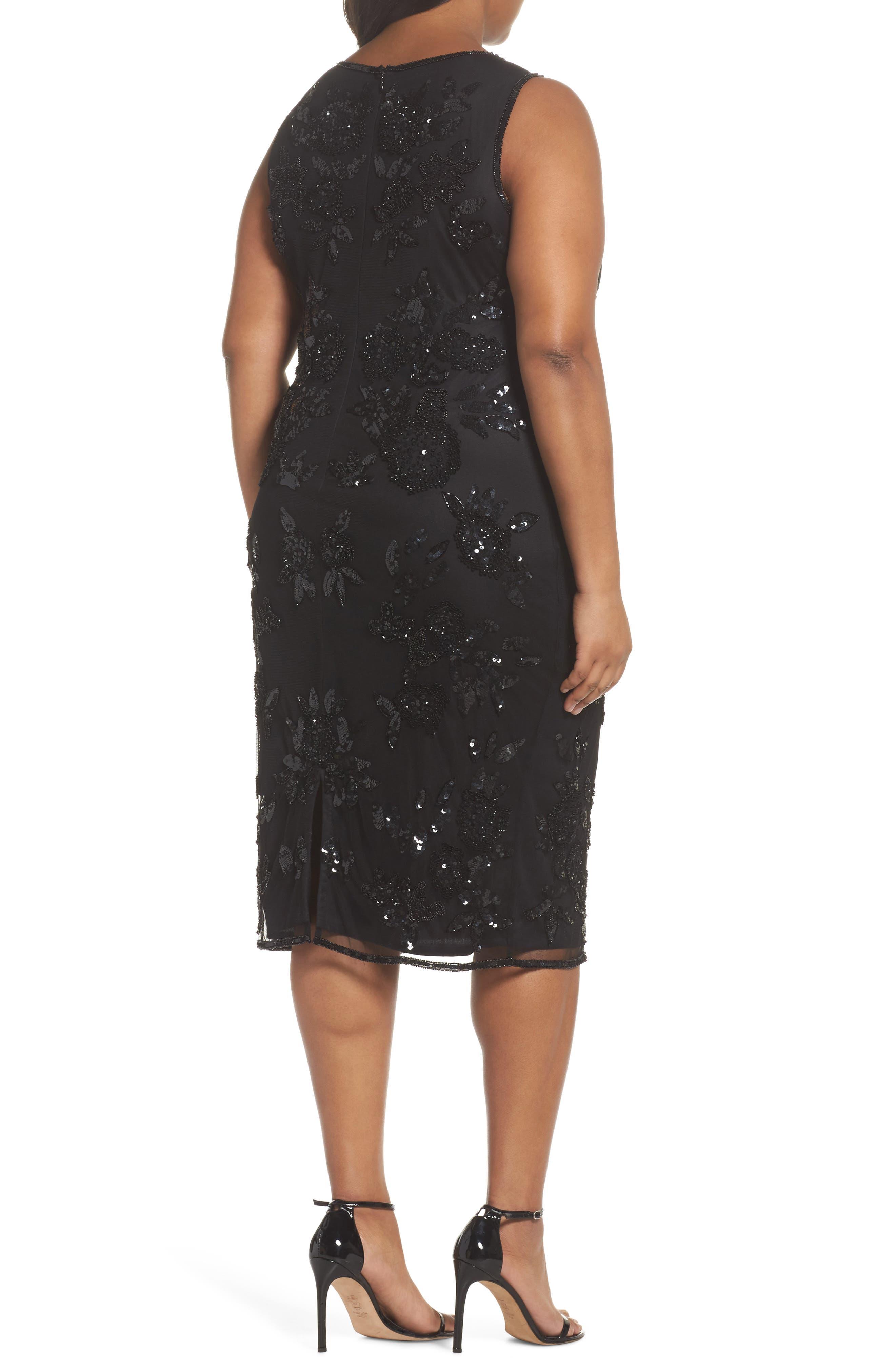 Embellished Keyhole Sheath Dress,                             Alternate thumbnail 2, color,                             Black
