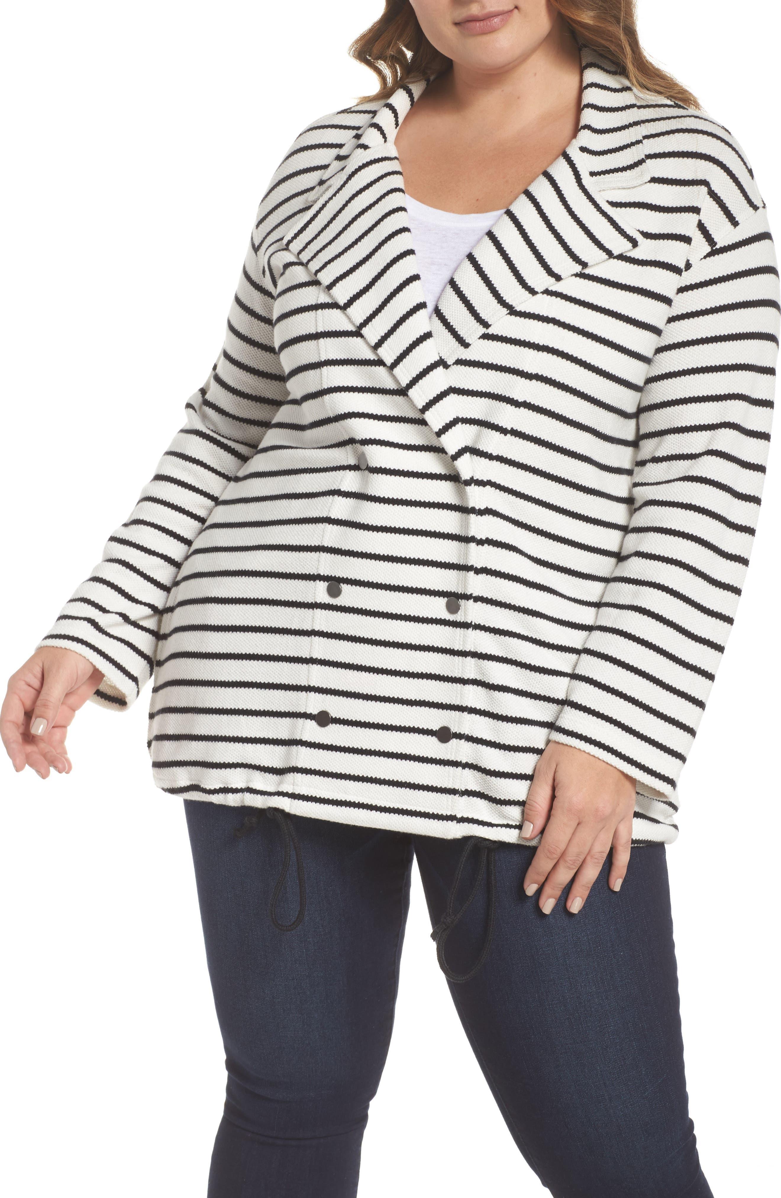 Stripe Peacoat Knit Jacket,                             Alternate thumbnail 4, color,                             Ivory- Black Stripe
