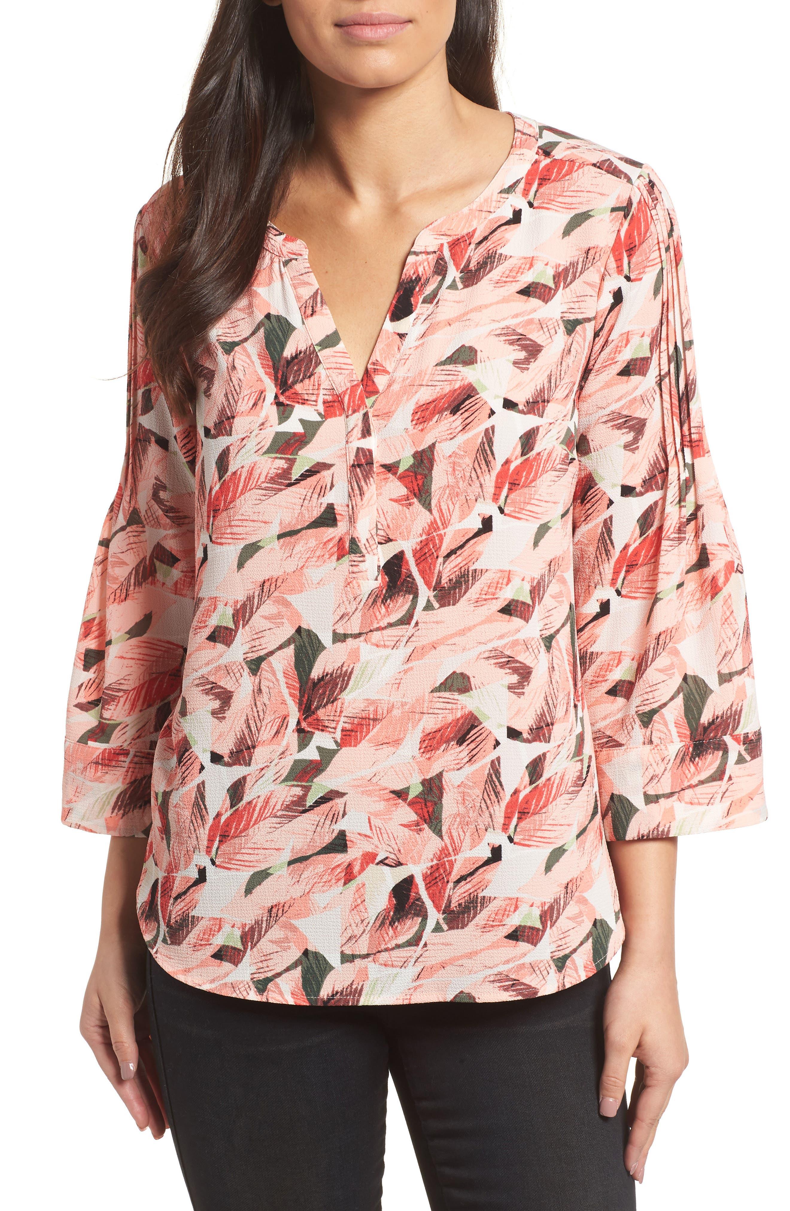Tropical Print Pleated Sleeve Top,                         Main,                         color, 867-Sunrisepeach