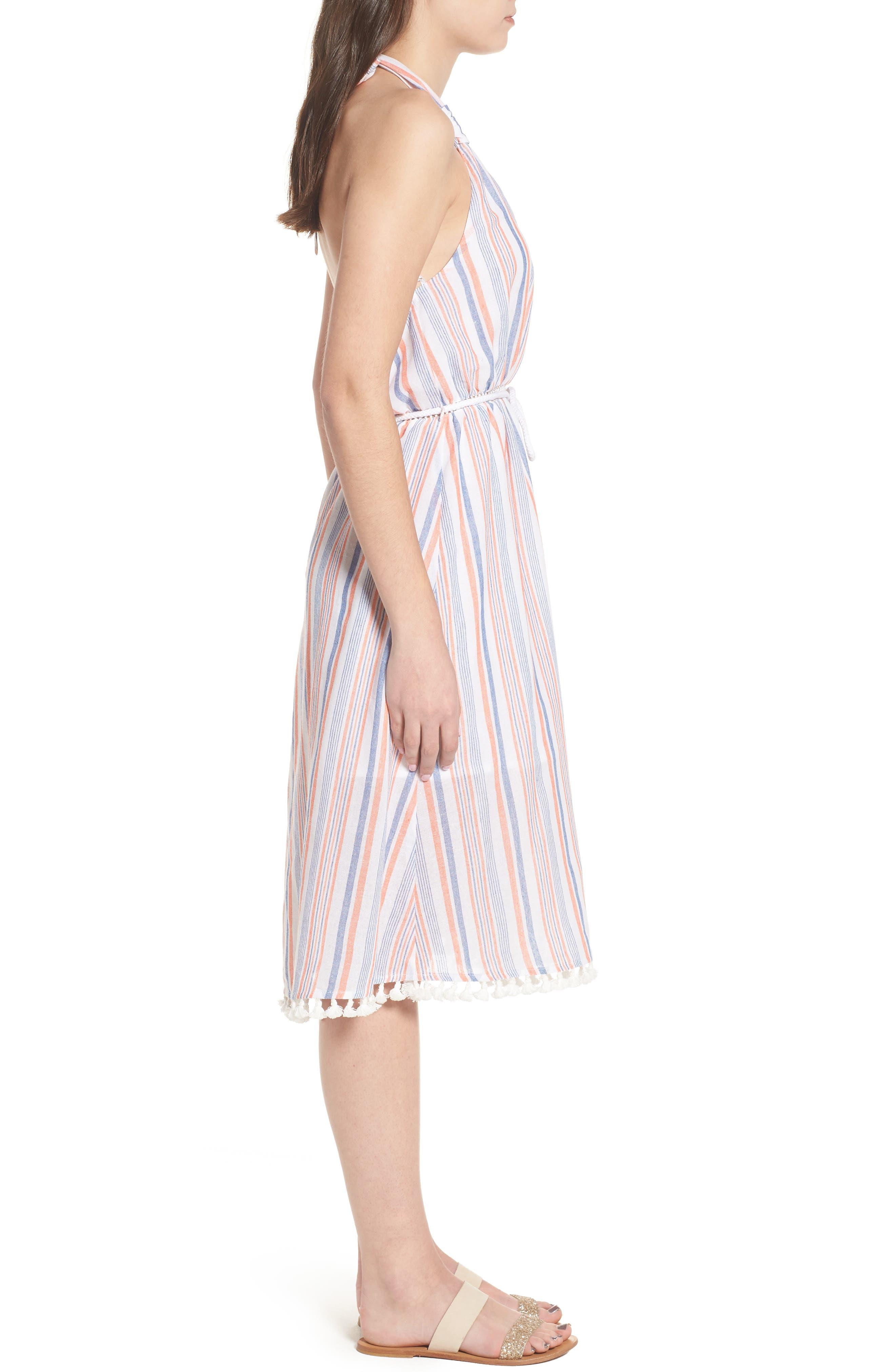Stripe Halter Dress,                             Alternate thumbnail 4, color,                             Coral Stripe