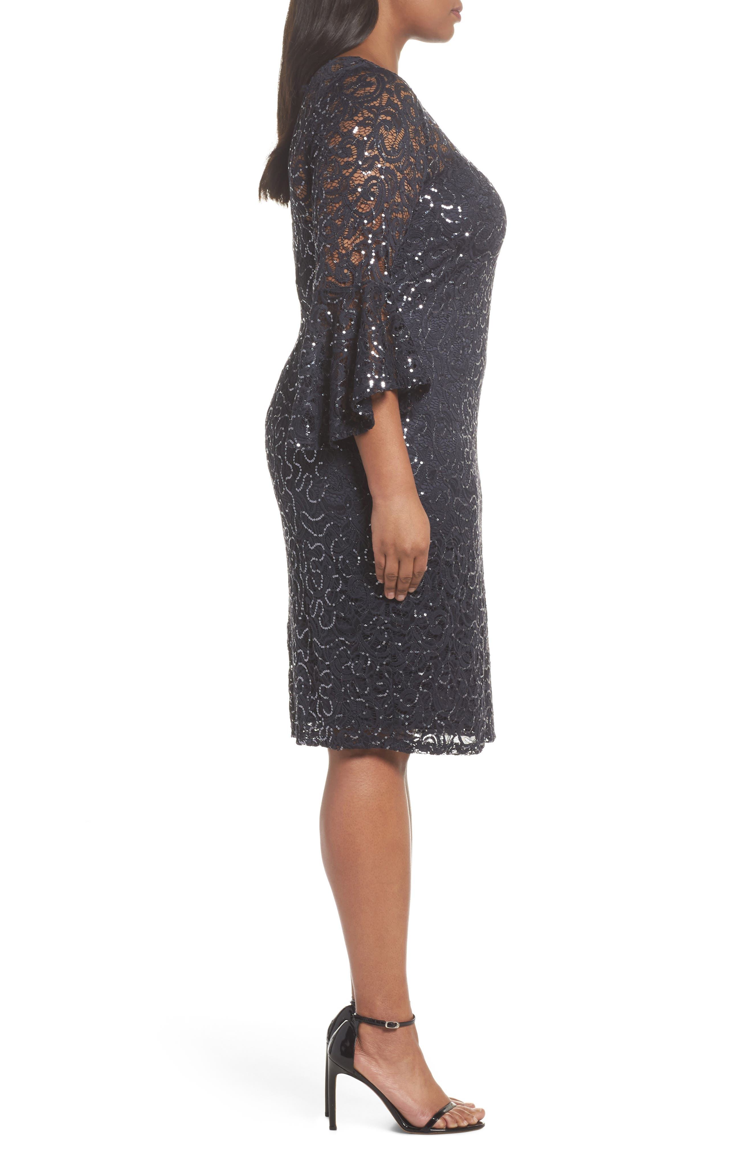Sequin Lace Bell Sleeve Dress,                             Alternate thumbnail 3, color,                             Gunmetal