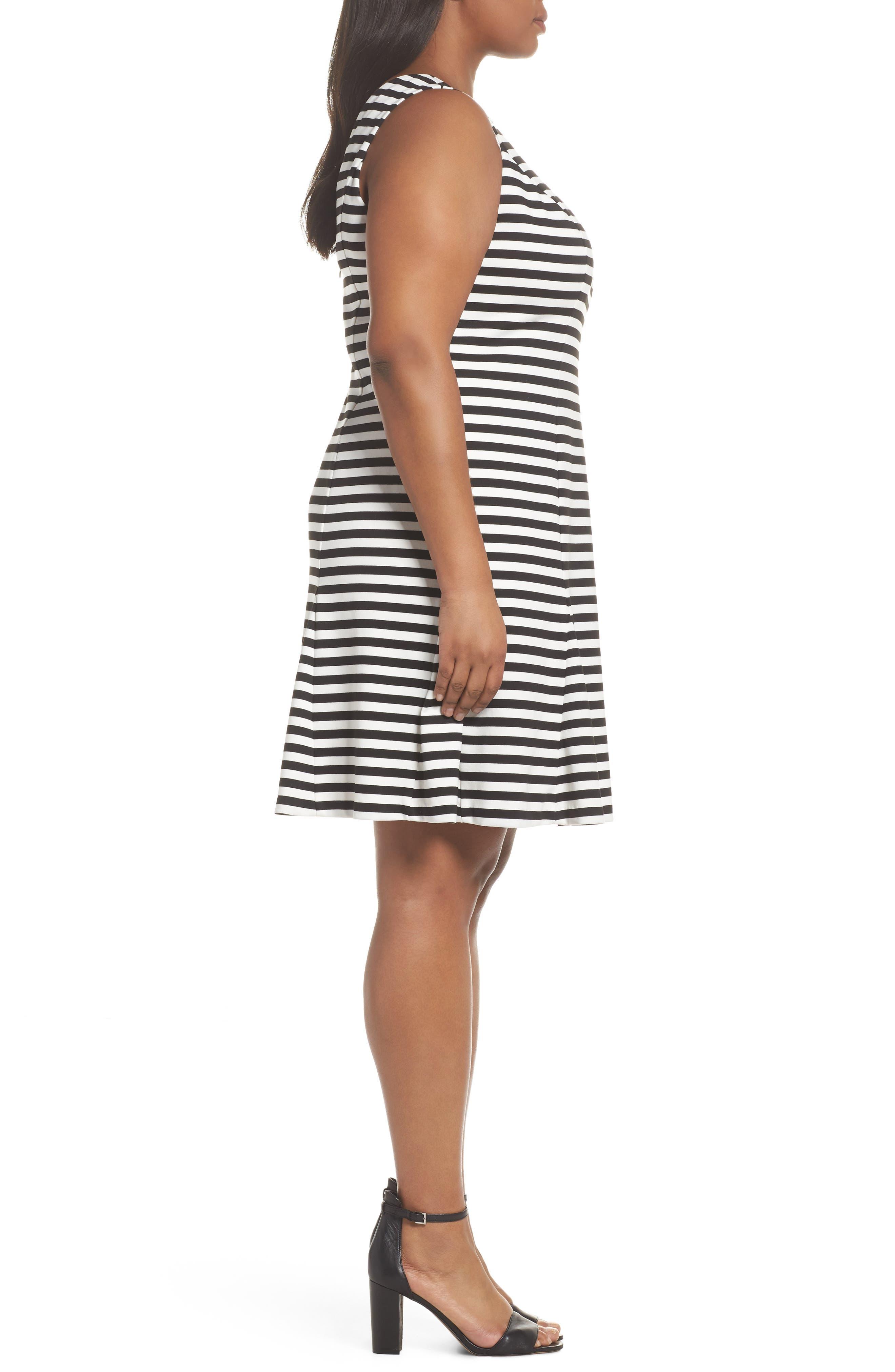 Godet Body-Con Dress,                             Alternate thumbnail 3, color,                             Black/ Ivory