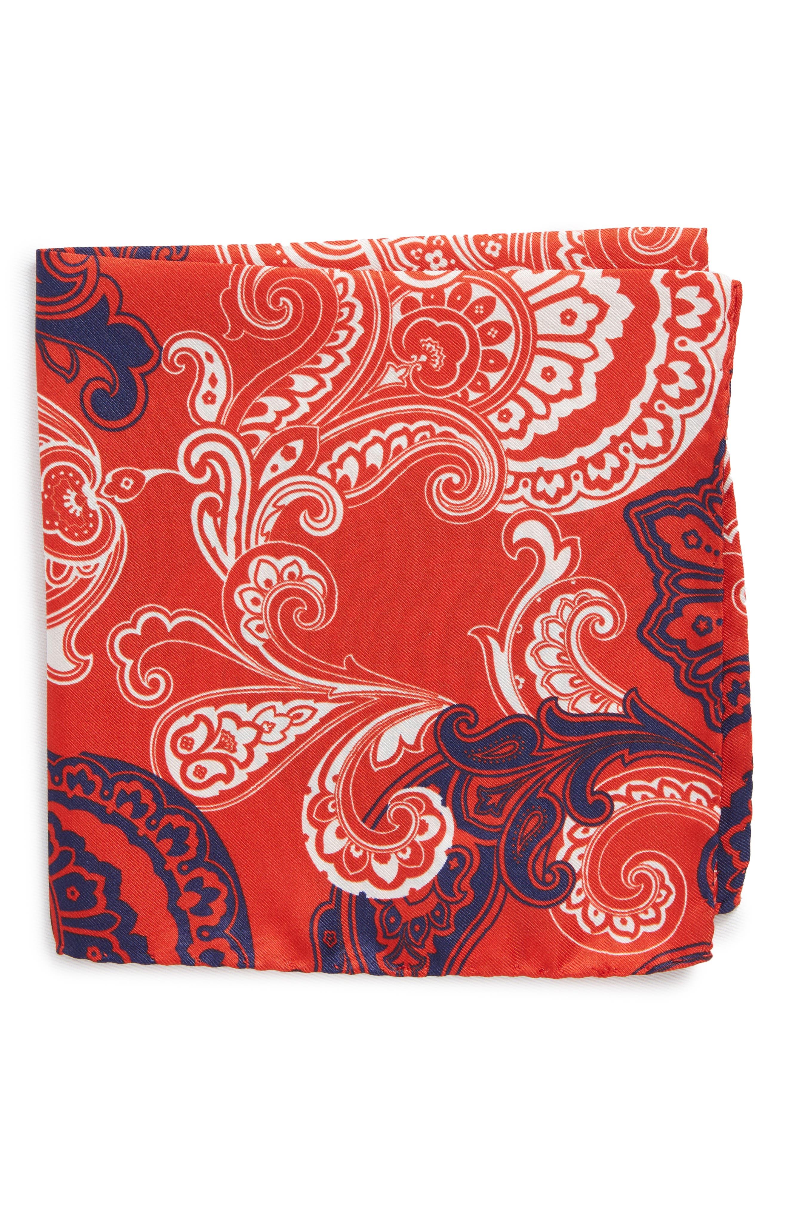 Paisley Silk Pocket Square,                             Main thumbnail 1, color,                             Red