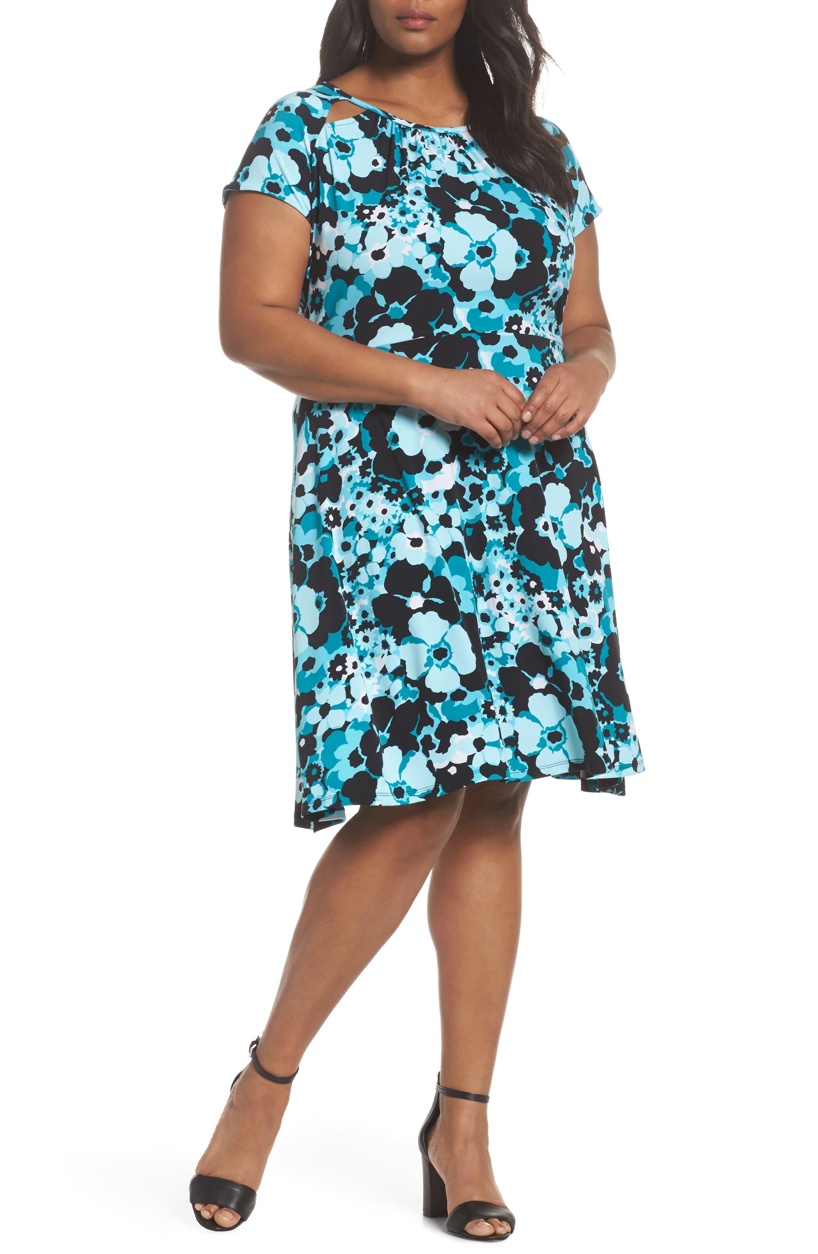 Springtime Floral Cutout Dress,                         Main,                         color, Tile Blue/ Black Multi