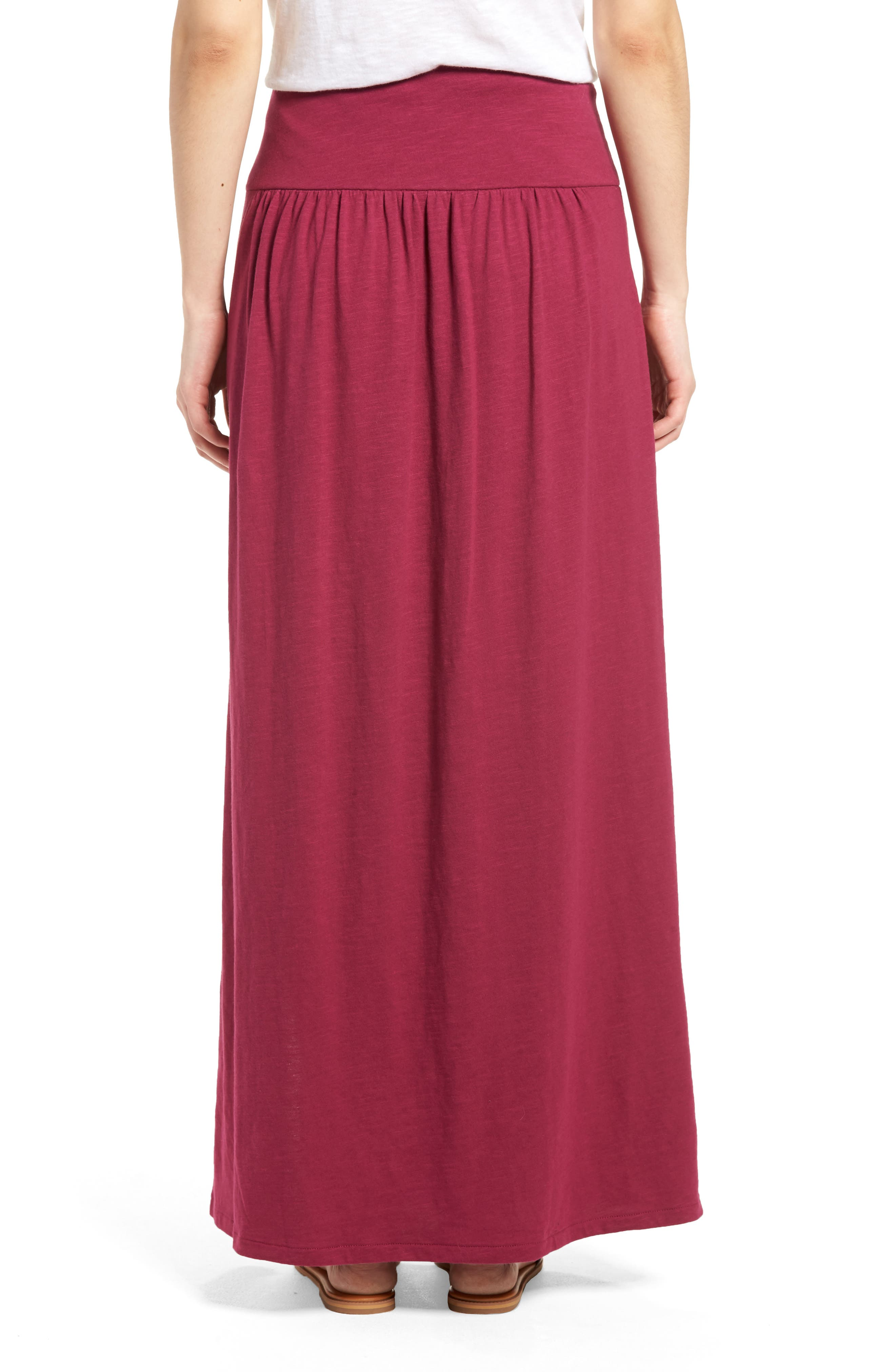 Tie Front Cotton Maxi Skirt,                             Alternate thumbnail 2, color,                             Purple Fuchsia