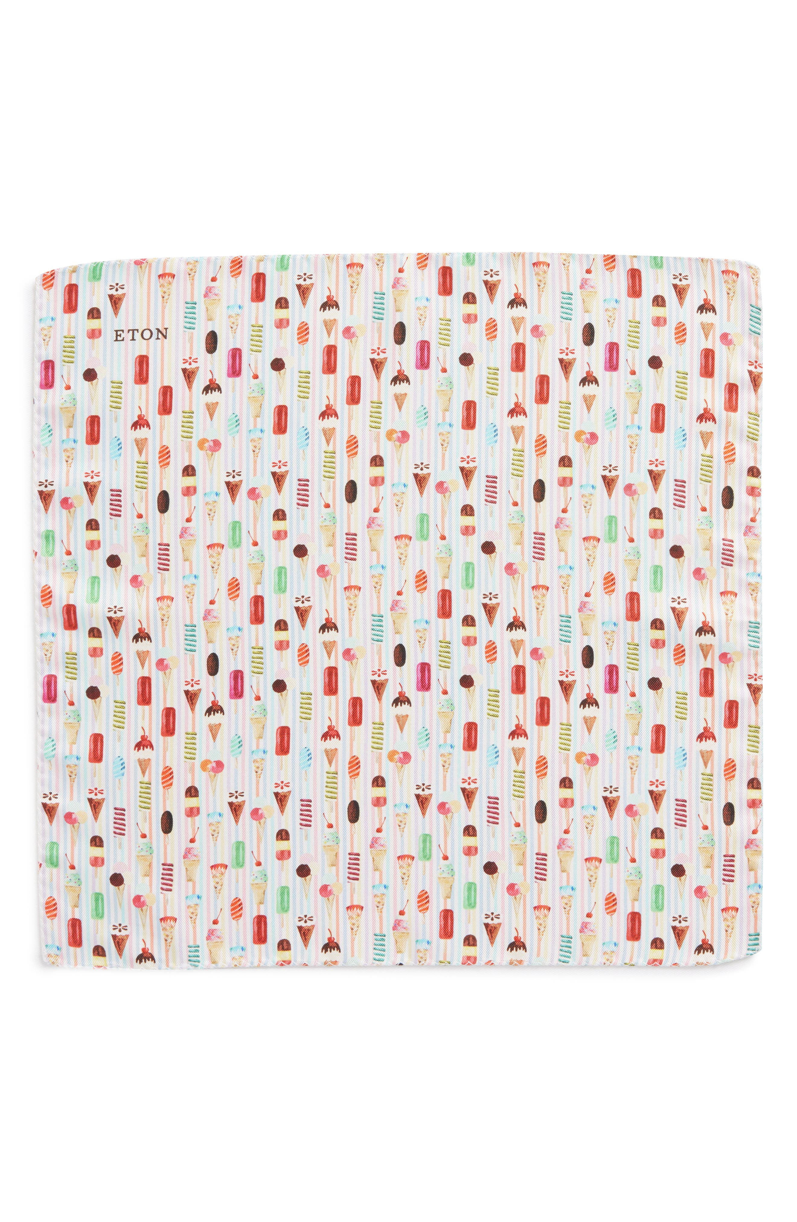Ice Cream Print Silk Pocket Square,                             Alternate thumbnail 2, color,                             Pink/ Red