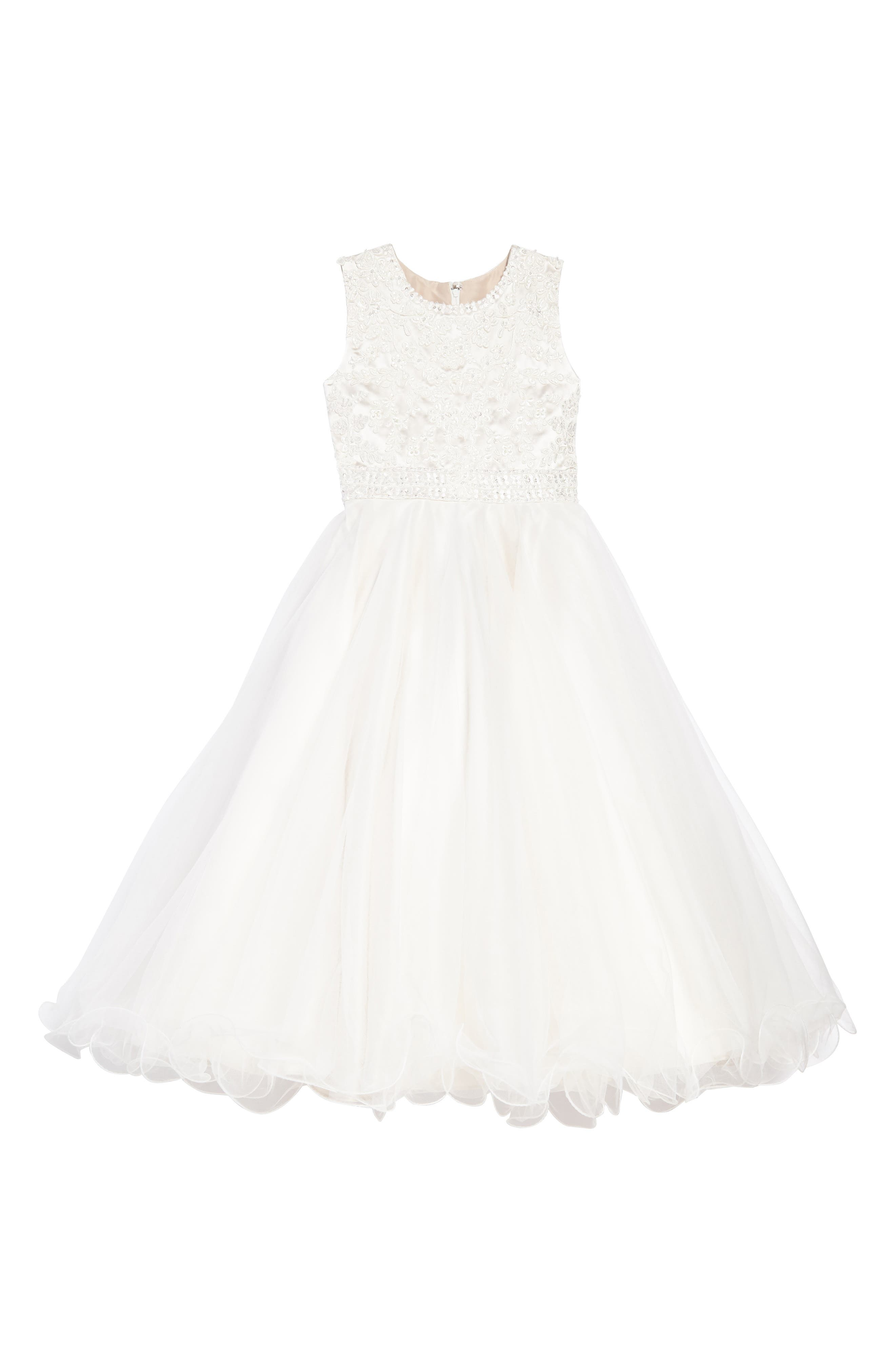 Lace & Tulle Dress,                             Main thumbnail 1, color,                             Ivory/ Gardenia