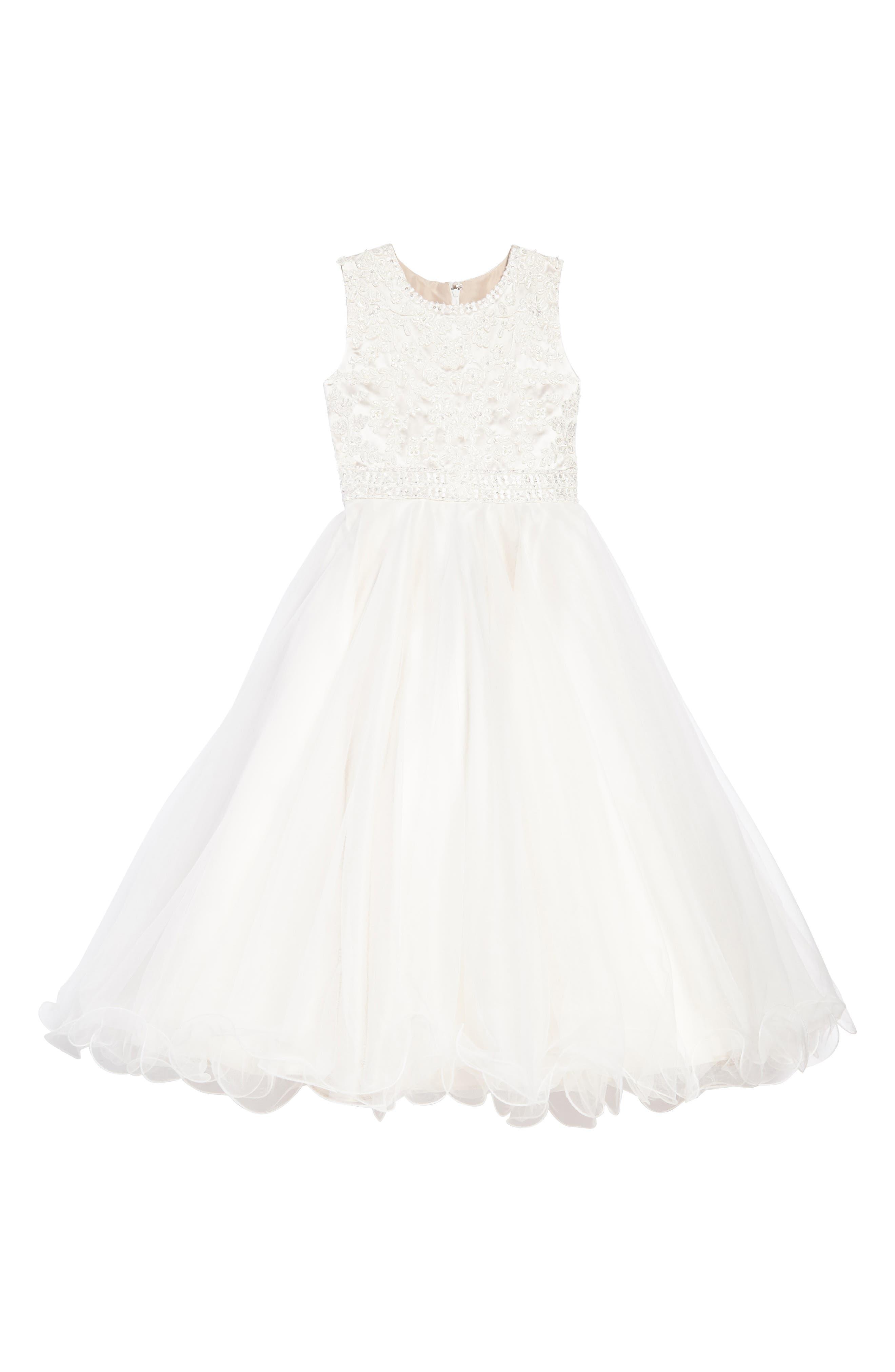 Joan Calabrese for Mon Cheri Lace & Tulle Dress (Toddler Girls, Little Girls & Big Girls)