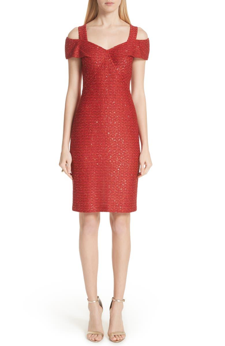 Glamour Sequin Knit Cold Shoulder Dress