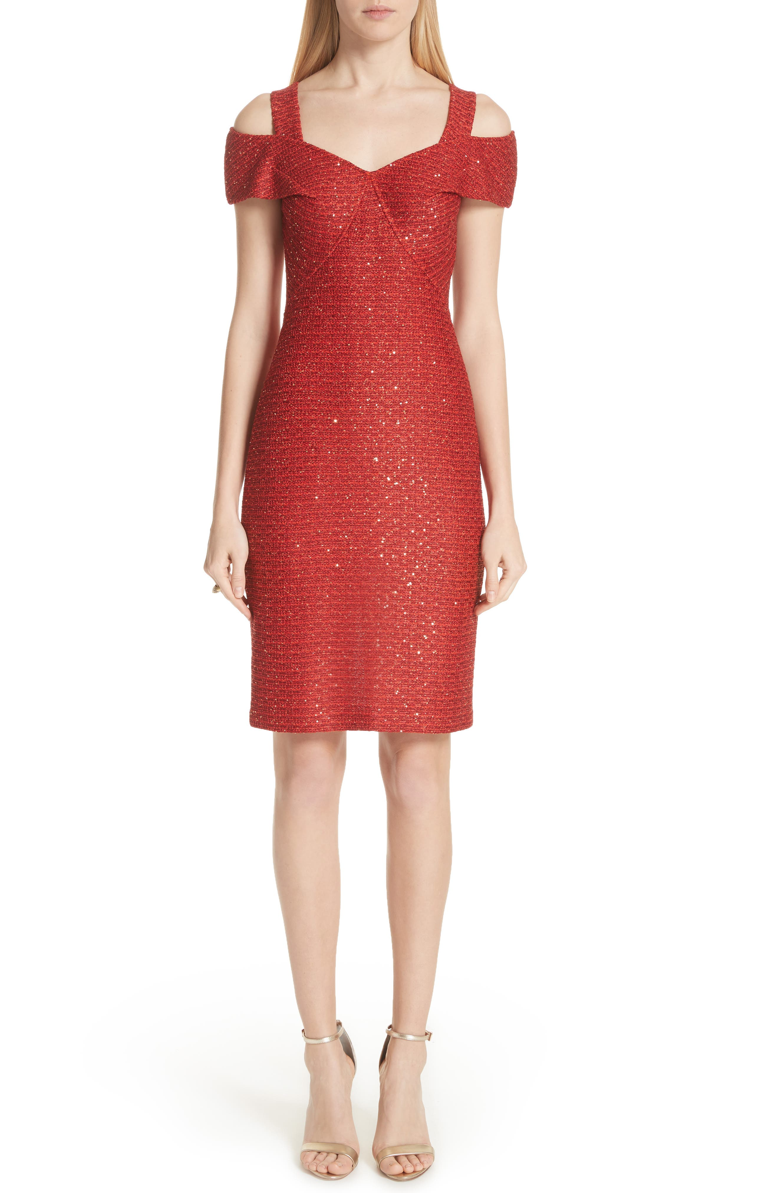 St. John Collection Glamour Sequin Knit Cold Shoulder Dress