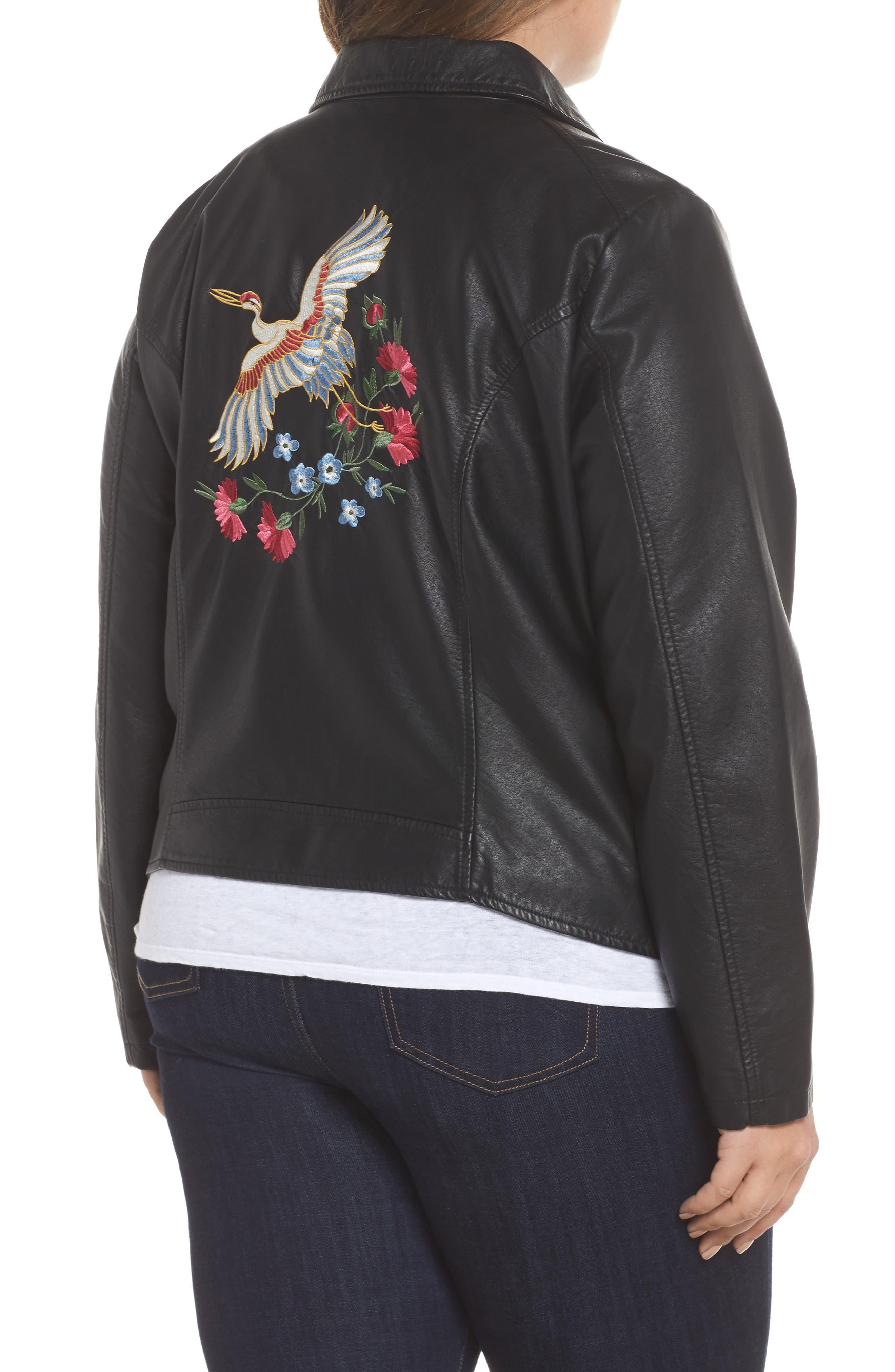 Alternate Image 3  - JUNAROSE Karisa Faux Leather Moto Jacket (Plus Size)