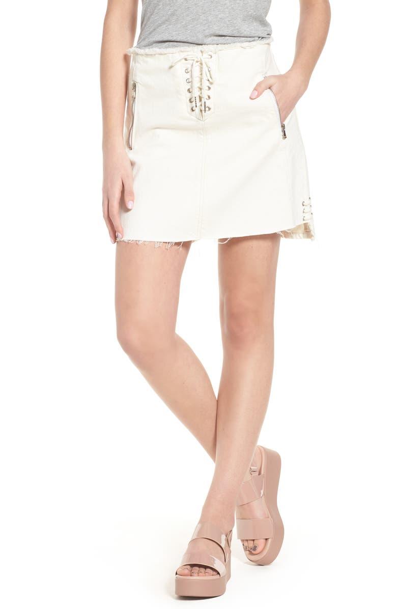 Neutral Ground Lace-Up Denim Miniskirt