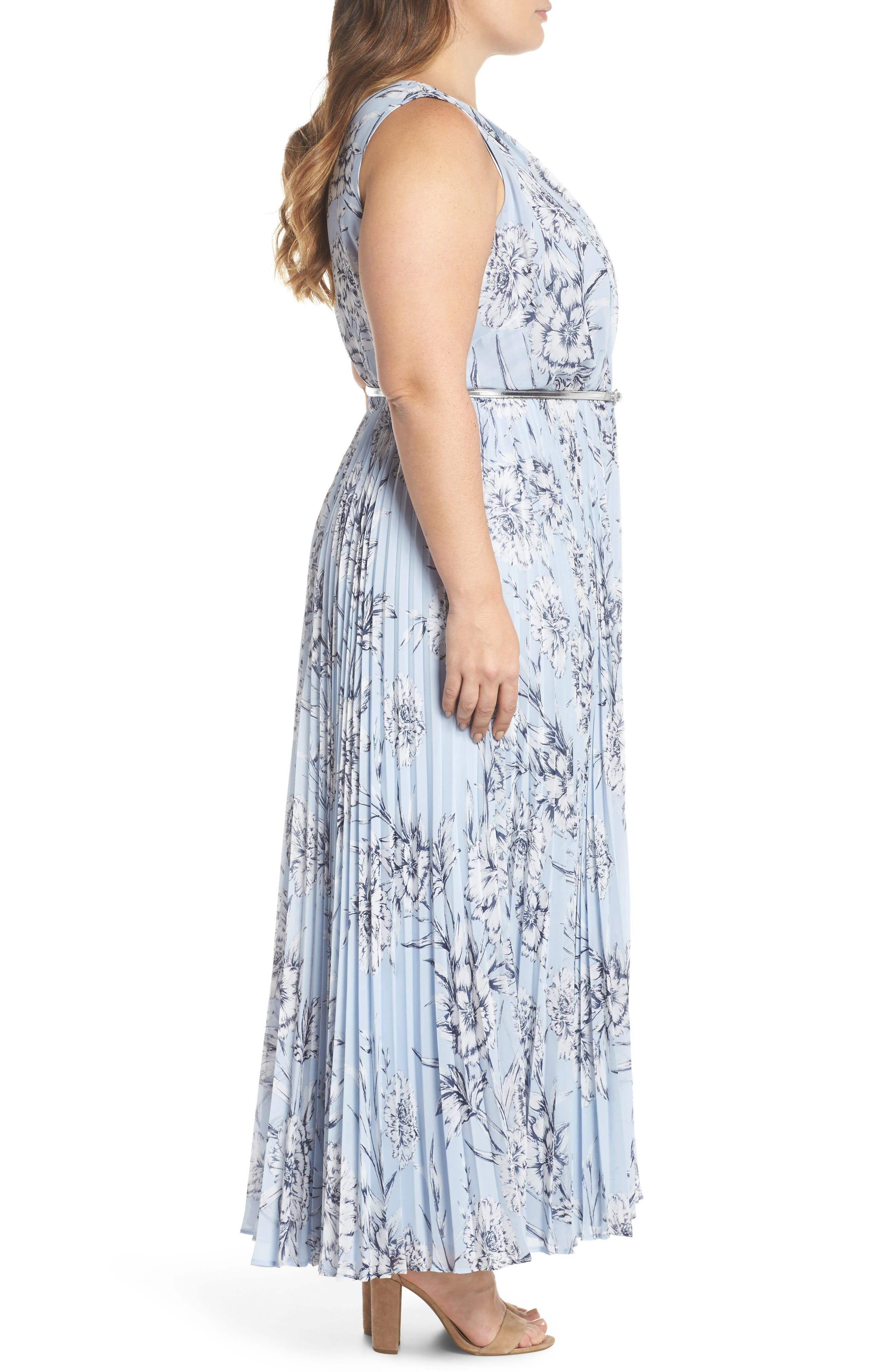 Belted Floral Maxi Dress,                             Alternate thumbnail 3, color,                             Blue